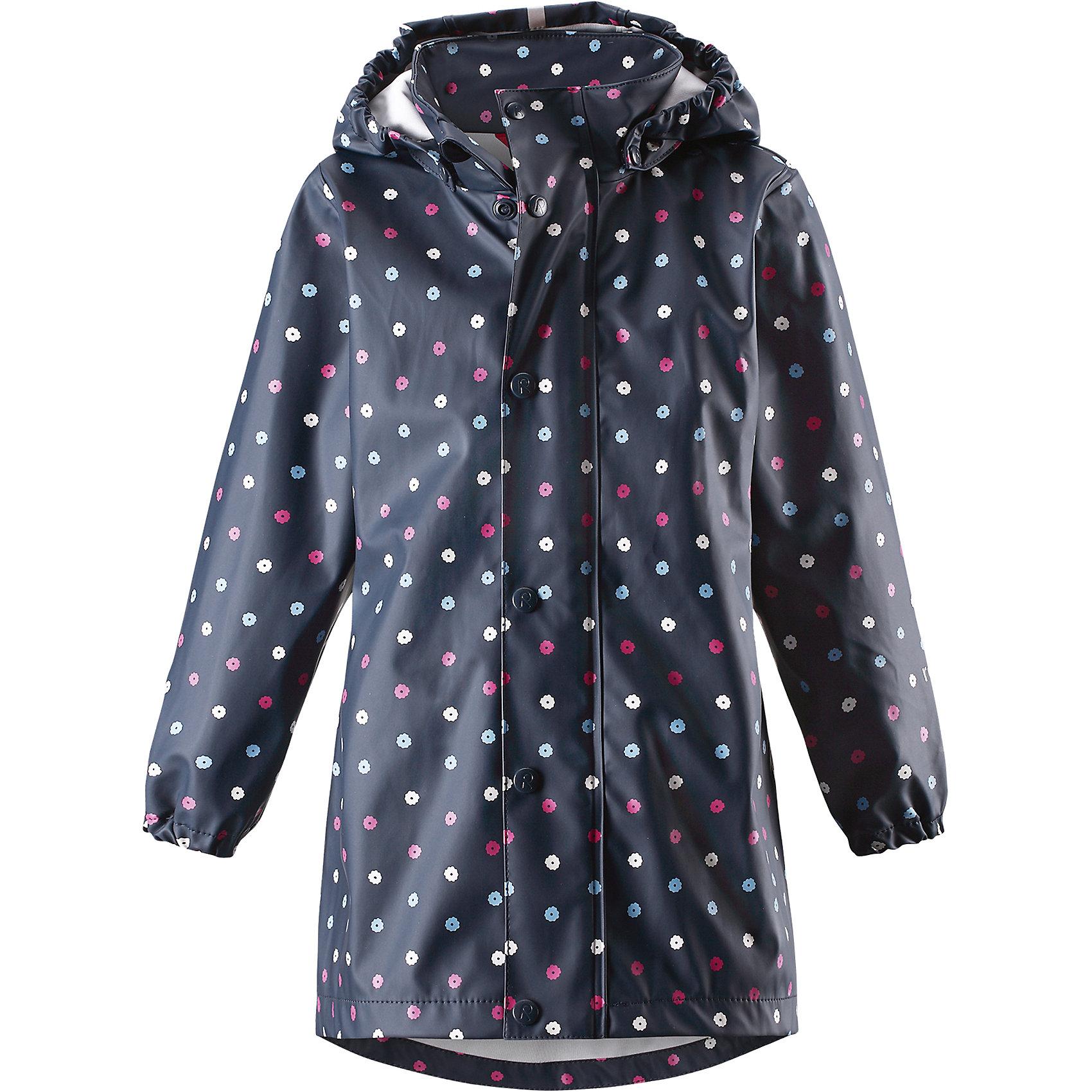 Плащ для девочки ReimaПлащ для девочки от финского бренда Reima.<br>Куртка-дождевик для детей. Запаянные швы, не пропускающие влагу. Эластичный материал. Без ПХВ. Крой для девочек. Безопасный, съемный капюшон. Эластичные манжеты. Молния спереди.<br>Состав:<br>100% Полиэстер, полиуретановое покрытие<br><br>Уход:<br>Стирать по отдельности, вывернув наизнанку. Застегнуть молнии и липучки. Стирать моющим средством, не содержащим отбеливающие вещества. Полоскать без специального средства. Во избежание изменения цвета изделие необходимо вынуть из стиральной машинки незамедлительно после окончания программы стирки. Сушить при низкой температуре.<br><br>Ширина мм: 356<br>Глубина мм: 10<br>Высота мм: 245<br>Вес г: 519<br>Цвет: синий<br>Возраст от месяцев: 108<br>Возраст до месяцев: 120<br>Пол: Женский<br>Возраст: Детский<br>Размер: 140,134,128,122,116,110,104<br>SKU: 5268554