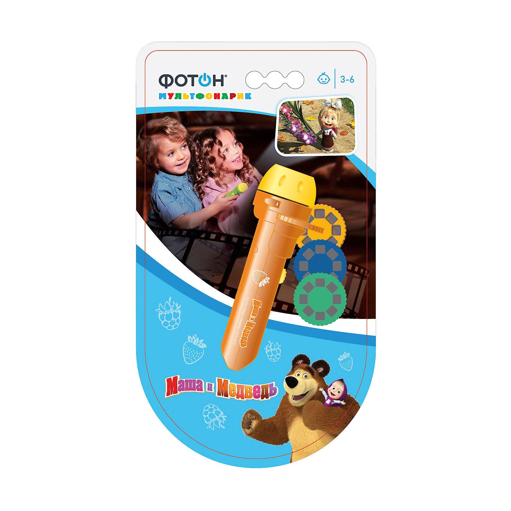 Мультфонарик с дисками  Маша и Медведь, оранжевый, ФотонМультфонарик с дисками Маша и Медведь, оранжевый, Фотон.<br><br>Характеристика:<br><br>• Материал: пластик, металл.<br>• Длина фонарика: 11,5 см. <br>• Размер упаковки: 21x13 см.<br>• Проецирует картинку на расстоянии: 0,3-3 м. <br>• Комплектация: фонарик, 3 диска (по 8 кадров в каждом). <br>• Сказки: Про новогоднее представление (оранжевый диск), Про Машу-первоклашку (фиолетовый диск), Про Машу и музыкальные инструменты (салатовый диск). <br>• Элемент питания: 3 батарейки 1,5V типа AG3/LR41 (в комплекте демонстрационные). <br>• Яркий привлекательный дизайн.<br><br>Мультфонарик с дисками - прекрасный подарок для всех поклонников Маши и Медведя. Проецируя на стену изображения и перемещая диск дети смогут увидеть любимые сюжеты, показать и рассказать знакомые истории. Качественные проекции и простота использования позволяют играть с фонариком детям любого возраста. Фонарик небольшого размера легко поместится с сумке или кармане, а значит, любимые герои и захватывающие истории смогут быть рядом всегда и везде. <br>Изображения можно спроецировать на любую ровную поверхность. Фонарик выполнен из высококачественного прочного пластика, работает от батареек. <br><br>Мультфонарик с дисками Маша и Медведь, оранжевый, Фотон, можно купить в нашем интернет-магазине.<br><br>Ширина мм: 230<br>Глубина мм: 125<br>Высота мм: 35<br>Вес г: 106<br>Возраст от месяцев: 24<br>Возраст до месяцев: 120<br>Пол: Унисекс<br>Возраст: Детский<br>SKU: 5268927