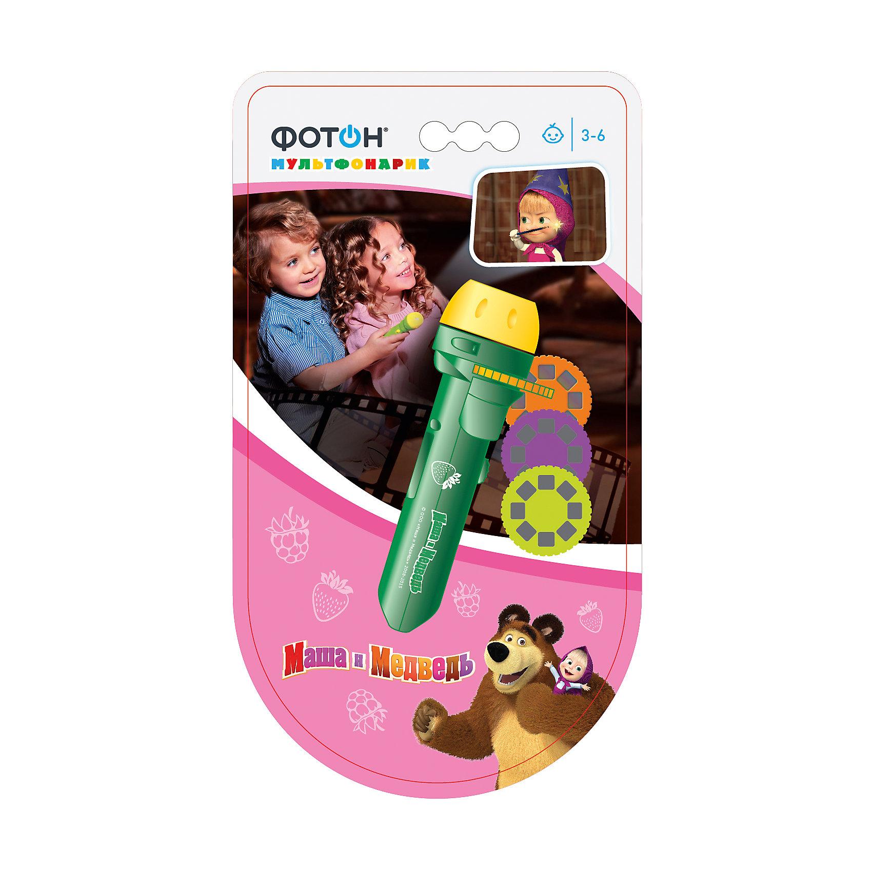 Мультфонарик с дисками  Маша и Медведь, зеленый, ФотонМультфонарик с дисками Маша и Медведь, зеленый, Фотон.<br><br>Характеристика:<br><br>• Материал: пластик, металл.<br>• Длина фонарика: 11,5 см. <br>• Размер упаковки: 21x13 см.<br>• Проецирует картинку на расстоянии: 0,3-3 м. <br>• Комплектация: фонарик, 3 диска (по 8 кадров в каждом). <br>• Сказки: Как наряжать ёлочку, Про Машу и фокусы, Про ремонт.<br>• Элемент питания: 3 батарейки 1,5V типа AG3/LR41 (в комплекте демонстрационные). <br>• Яркий привлекательный дизайн.<br><br>Мультфонарик с дисками - прекрасный подарок для всех поклонников Маши и Медведя. Проецируя на стену изображения и перемещая диск дети смогут увидеть любимые сюжеты, показать и рассказать знакомые истории. Качественные проекции и простота использования позволяют играть с фонариком детям любого возраста. Фонарик небольшого размера легко поместится с сумке или кармане, а значит, любимые герои и захватывающие истории смогут быть рядом всегда и везде. <br>Изображения можно спроецировать на любую ровную поверхность. Фонарик выполнен из высококачественного прочного пластика, работает от батареек. <br><br>Мультфонарик с дисками Маша и Медведь, зеленый, Фотон, можно купить в нашем интернет-магазине.<br><br>Ширина мм: 230<br>Глубина мм: 125<br>Высота мм: 35<br>Вес г: 106<br>Возраст от месяцев: 24<br>Возраст до месяцев: 120<br>Пол: Унисекс<br>Возраст: Детский<br>SKU: 5268929