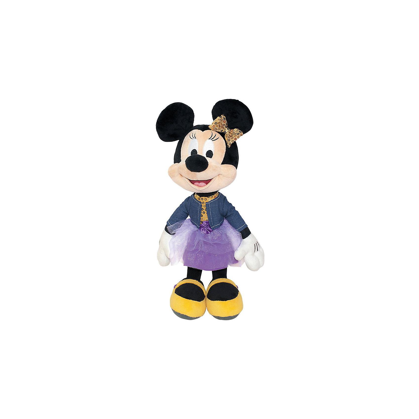 Мягкая игрушка Минни Маус, Dream makersЛюбимые герои<br>Характеристики:<br><br>• высота игрушки: 25 см;<br>• особенности: звуковые эффекты;<br>• материал: плюш, текстиль, синтетический наполнитель. <br><br>Мягкая мышка Минни Маус говорит фразы из мультфильма. Улыбчивая героиня Дисней одета в джинсовый жакет и пышную юбочку. С мышкой можно играть и даже «общаться».<br><br>Мягкую игрушку Минни Маус, Dream makers можно купить в нашем магазине.<br><br>Ширина мм: 150<br>Глубина мм: 190<br>Высота мм: 250<br>Вес г: 320<br>Возраст от месяцев: 36<br>Возраст до месяцев: 2147483647<br>Пол: Женский<br>Возраст: Детский<br>SKU: 5268984