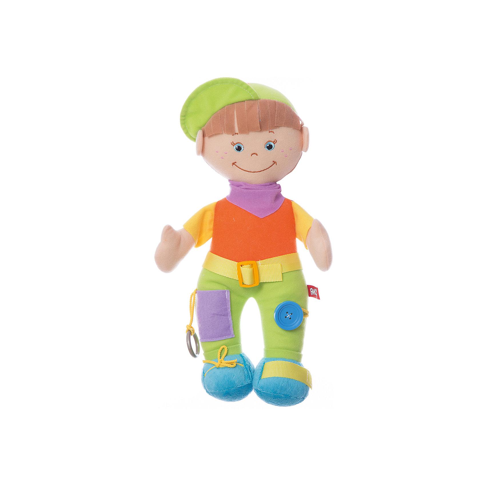 Мягкая игрушка Кнопик, FancyХарактеристики:<br><br>• высота игрушки: 39 см;<br>• тип игрушки: развивающая кукла;<br>• материал: текстиль, синтетический наполнитель. <br><br>Развивающую куклу Кнопик полюбят детки, которые с ее помощью научатся завязывать шнурки, застегивать пуговицы, расстегивать липучки. Комбинирование разнофактурных материалов помогает развить мелкую моторику. В процессе игры ребенок осваивает методику самостоятельности. <br><br>Мягкую игрушку Кнопик, Fancy можно купить в нашем магазине.<br><br>Ширина мм: 100<br>Глубина мм: 150<br>Высота мм: 350<br>Вес г: 190<br>Возраст от месяцев: 36<br>Возраст до месяцев: 2147483647<br>Пол: Унисекс<br>Возраст: Детский<br>SKU: 5269002