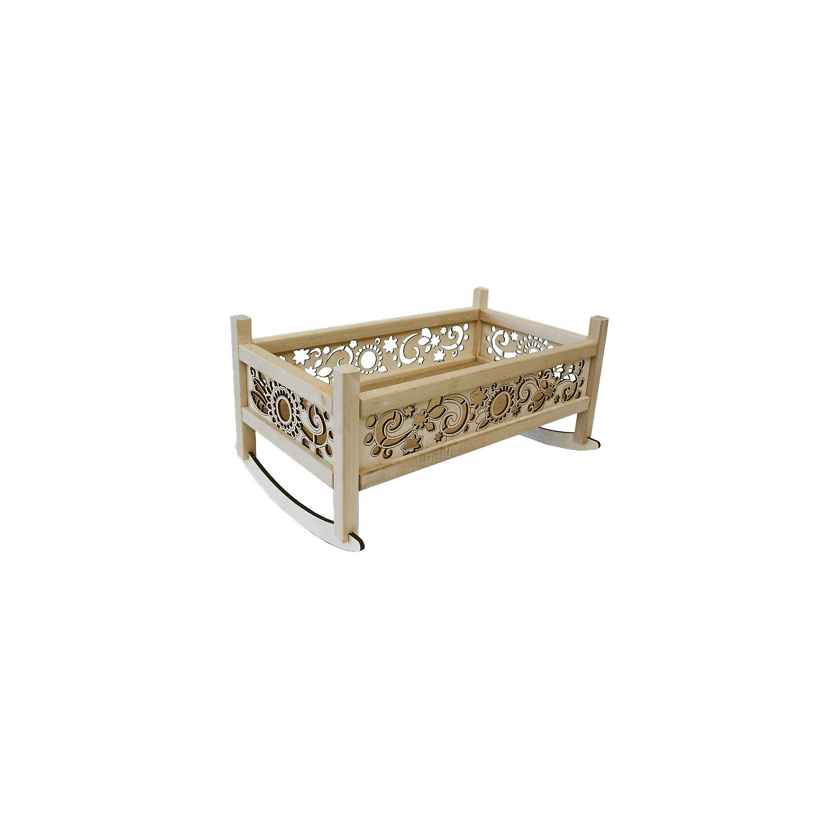 Кроватка – качалка  для кукол, Master woodХарактеристики:<br><br>• материал: дерево;<br>• размер кроватки: 52х19х20 см;<br>• вес: 1 кг.<br><br>Кроватка-качалка для кукол имеет специальные полозья, чтобы раскачивать люльку. Витиеватые бортики выполнены очень искусно и аккуратно. В такой кроватке куколка будет видеть самые яркие сны!<br><br>Кроватку-качалку для кукол, Master wood можно купить в нашем магазине.<br><br>Ширина мм: 410<br>Глубина мм: 230<br>Высота мм: 200<br>Вес г: 1000<br>Возраст от месяцев: 36<br>Возраст до месяцев: 2147483647<br>Пол: Женский<br>Возраст: Детский<br>SKU: 5269004