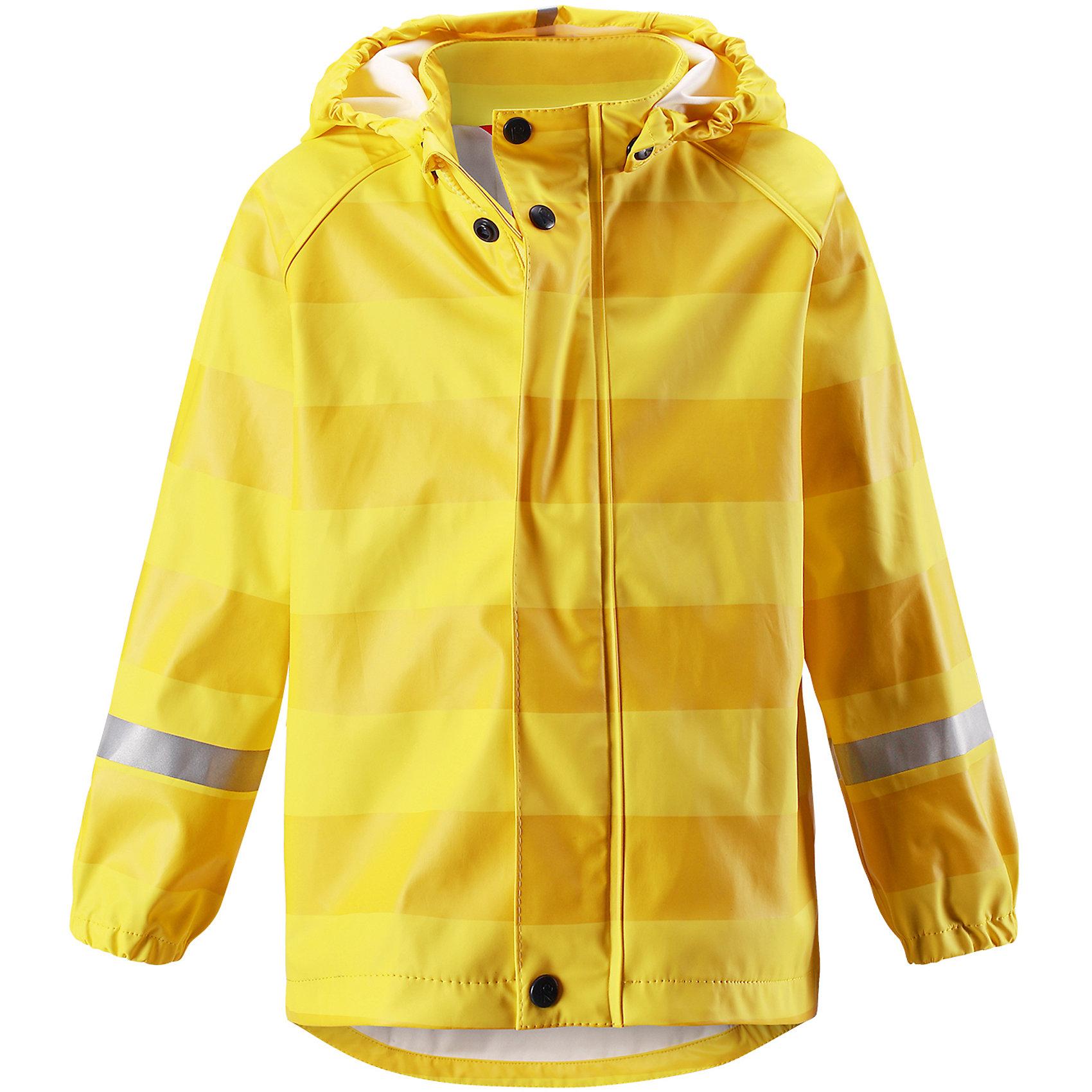 Плащ-дождевик Vesi ReimaОдежда<br>Характеристики товара:<br><br>• цвет: желтый<br>• состав: 100% полиэстер, полиуретановое покрытие<br>• температурный режим: от +10° до +20°С<br>• водонепроницаемость: 10000 мм<br>• без утеплителя<br>• водонепроницаемый материал с запаянными швами<br>• эластичный материал<br>• можно пристёгивать промежуточные слои Reima® с помощью кнопок Play Layers®<br>• не содержит ПВХ<br>• безопасный съёмный капюшон<br>• спереди застегивается на молнию<br>• эластичные манжеты<br>• светоотражающие детали<br>• комфортная посадка<br>• страна производства: Китай<br>• страна бренда: Финляндия<br>• коллекция: весна-лето 2017<br><br>Верхняя одежда для детей может быть модной и комфортной одновременно! Легкий плащ поможет обеспечить ребенку комфорт и тепло. Он отлично смотрится с различной одеждой и обувью. Изделие удобно сидит и модно выглядит. Материал - прочный, хорошо подходящий для дождливой погоды. Стильный дизайн разрабатывался специально для детей.<br><br>Одежда и обувь от финского бренда Reima пользуется популярностью во многих странах. Эти изделия стильные, качественные и удобные. Для производства продукции используются только безопасные, проверенные материалы и фурнитура. Порадуйте ребенка модными и красивыми вещами от Reima! <br><br>Плащ для мальчика от финского бренда Reima (Рейма) можно купить в нашем интернет-магазине.<br><br>Ширина мм: 356<br>Глубина мм: 10<br>Высота мм: 245<br>Вес г: 519<br>Цвет: желтый<br>Возраст от месяцев: 36<br>Возраст до месяцев: 48<br>Пол: Унисекс<br>Возраст: Детский<br>Размер: 104,86,92,98,116,122,128,110,134,140<br>SKU: 5270465