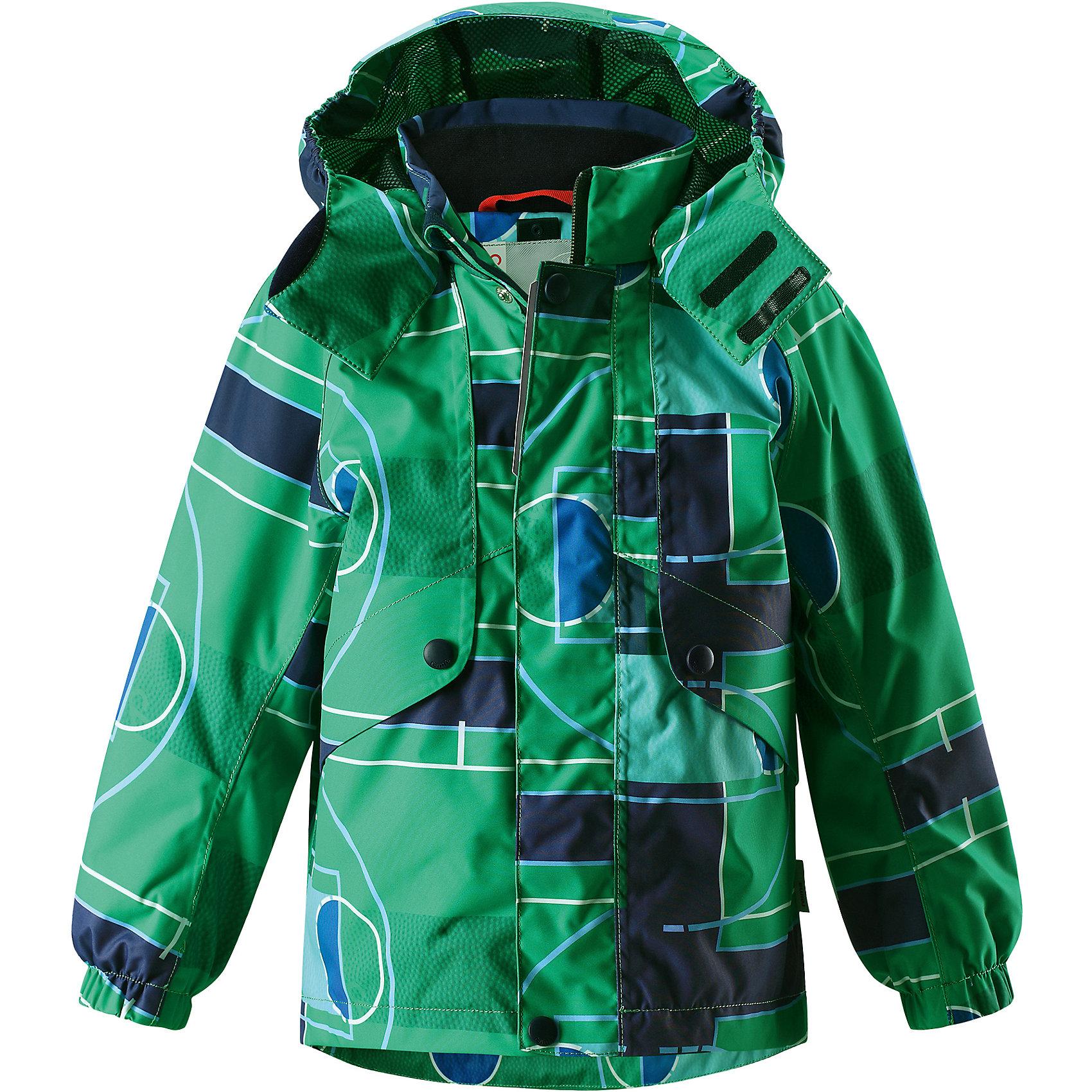 Куртка для мальчика Reimatec® ReimaКуртка  для мальчика от финского бренда Reima.<br>Куртка демисезонная для детей. Все швы проклеены и водонепроницаемы. Водо- и ветронепроницаемый, «дышащий» и грязеотталкивающий материал. Подкладка из mesh-сетки. Безопасный, отстегивающийся и регулируемый капюшон. Эластичные манжеты. Регулируемый подол. Внутренний нагрудный карман. Карманы с клапанами.<br>Состав:<br>100% Полиэстер, полиуретановое покрытие<br><br>Уход:<br>Стирать по отдельности, вывернув наизнанку. Застегнуть молнии и липучки. Стирать моющим средством, не содержащим отбеливающие вещества. Полоскать без специального средства. Во избежание изменения цвета изделие необходимо вынуть из стиральной машинки незамедлительно после окончания программы стирки. Можно сушить в сушильном шкафу или центрифуге (макс. 40° C).<br><br>Ширина мм: 356<br>Глубина мм: 10<br>Высота мм: 245<br>Вес г: 519<br>Цвет: зеленый<br>Возраст от месяцев: 72<br>Возраст до месяцев: 84<br>Пол: Мужской<br>Возраст: Детский<br>Размер: 122,104,110,116,140,134,128<br>SKU: 5270509