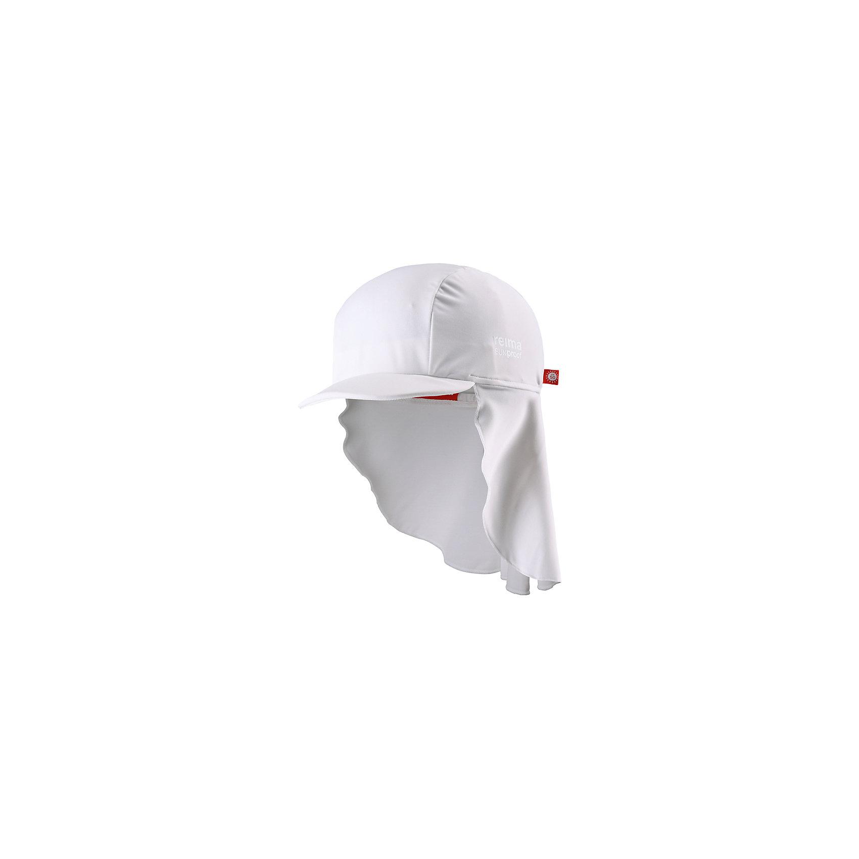 Панама Vesikko ReimaШапки и шарфы<br>Характеристики товара:<br><br>• цвет: белый<br>• состав: 80% полиамид, 20% эластан<br>• задняя часть удлиненная<br>• фактор защиты от ультрафиолета: 50+<br>• удобный эластичный материал<br>• стильный защитный козырек<br>• защищает от солнца<br>• облегчённая модель без подкладки<br>• эмблема Reima сбоку<br>• страна бренда: Финляндия<br>• страна производства: Китай<br><br>Детский головной убор может быть модным и удобным одновременно! Стильная панама поможет обеспечить ребенку комфорт и дополнить наряд. Панама удобно сидит и аккуратно выглядит. Проста в уходе, долго служит. Стильный дизайн разрабатывался специально для детей. Отличная защита от солнца!<br><br>Уход:<br><br>• стирать по отдельности, вывернув наизнанку<br>• полоскать без специального средства<br>• сушить при низкой температуре.<br><br>Панаму от финского бренда Reima (Рейма) можно купить в нашем интернет-магазине.<br><br>Ширина мм: 89<br>Глубина мм: 117<br>Высота мм: 44<br>Вес г: 155<br>Цвет: белый<br>Возраст от месяцев: 48<br>Возраст до месяцев: 84<br>Пол: Унисекс<br>Возраст: Детский<br>Размер: 54,46,50<br>SKU: 5270890