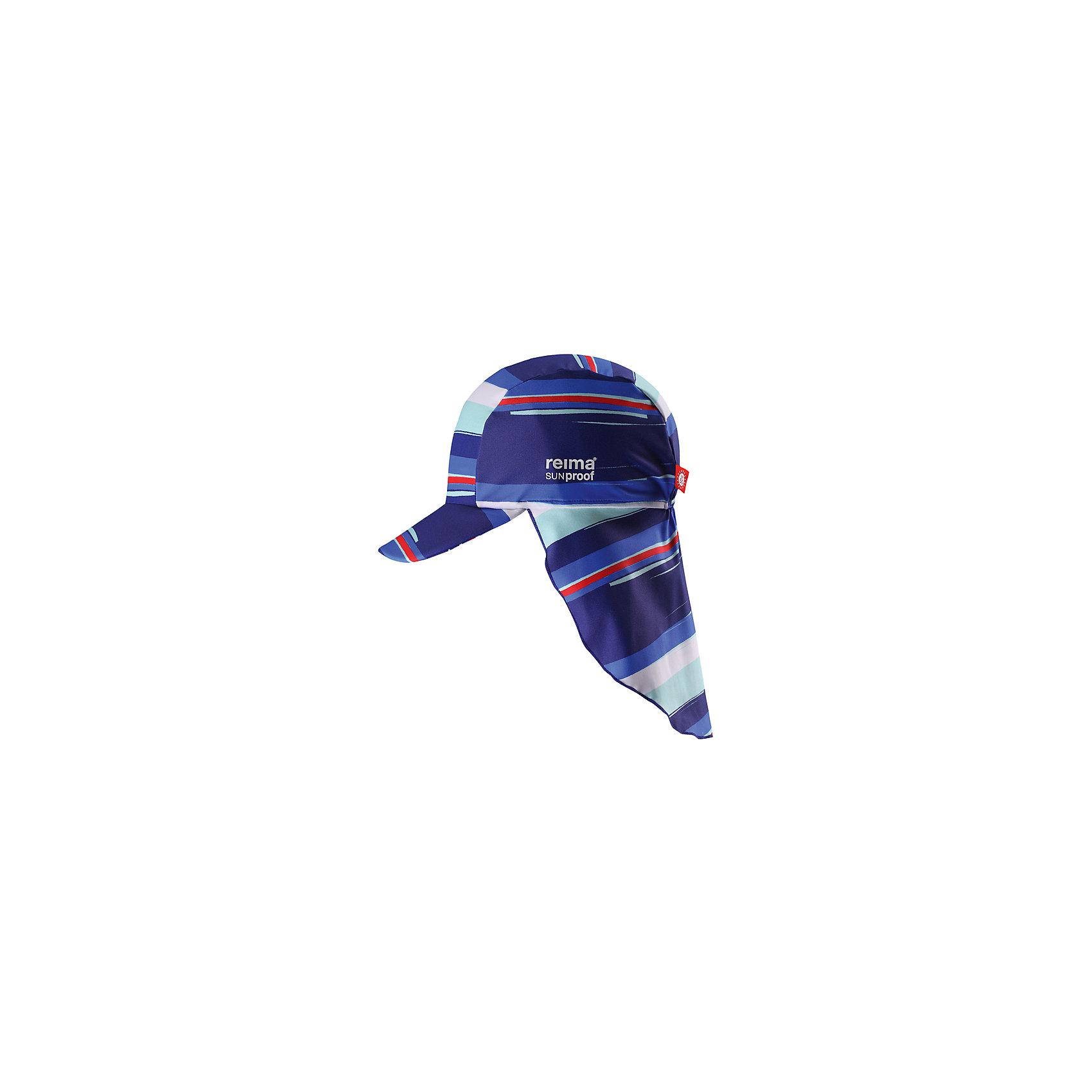Панама ReimaШапки и шарфы<br>Характеристики товара:<br><br>• цвет: синий<br>• состав: 80% полиамид, 20% эластан<br>• фактор защиты от ультрафиолета: 50+<br>• задняя часть удлиненная<br>• стильный защитный козырек<br>• защищает от солнца<br>• облегчённая модель без подкладки<br>• эмблема Reima сбоку<br>• декоративный логотип<br>• страна бренда: Финляндия<br>• страна производства: Китай<br><br>Детский головной убор может быть модным и удобным одновременно! Стильная панама поможет обеспечить ребенку комфорт и дополнить наряд.Панама удобно сидит и аккуратно выглядит. Проста в уходе, долго служит. Стильный дизайн разрабатывался специально для детей. Отличная защита от солнца!<br><br>Уход:<br><br>• cтирать по отдельности, вывернув наизнанку<br>• gолоскать без специального средства<br>• cушить при низкой температуре.<br><br>Панаму от финского бренда Reima (Рейма) можно купить в нашем интернет-магазине.<br><br>Ширина мм: 89<br>Глубина мм: 117<br>Высота мм: 44<br>Вес г: 155<br>Цвет: синий<br>Возраст от месяцев: 18<br>Возраст до месяцев: 36<br>Пол: Унисекс<br>Возраст: Детский<br>Размер: 54,46,50<br>SKU: 5270894