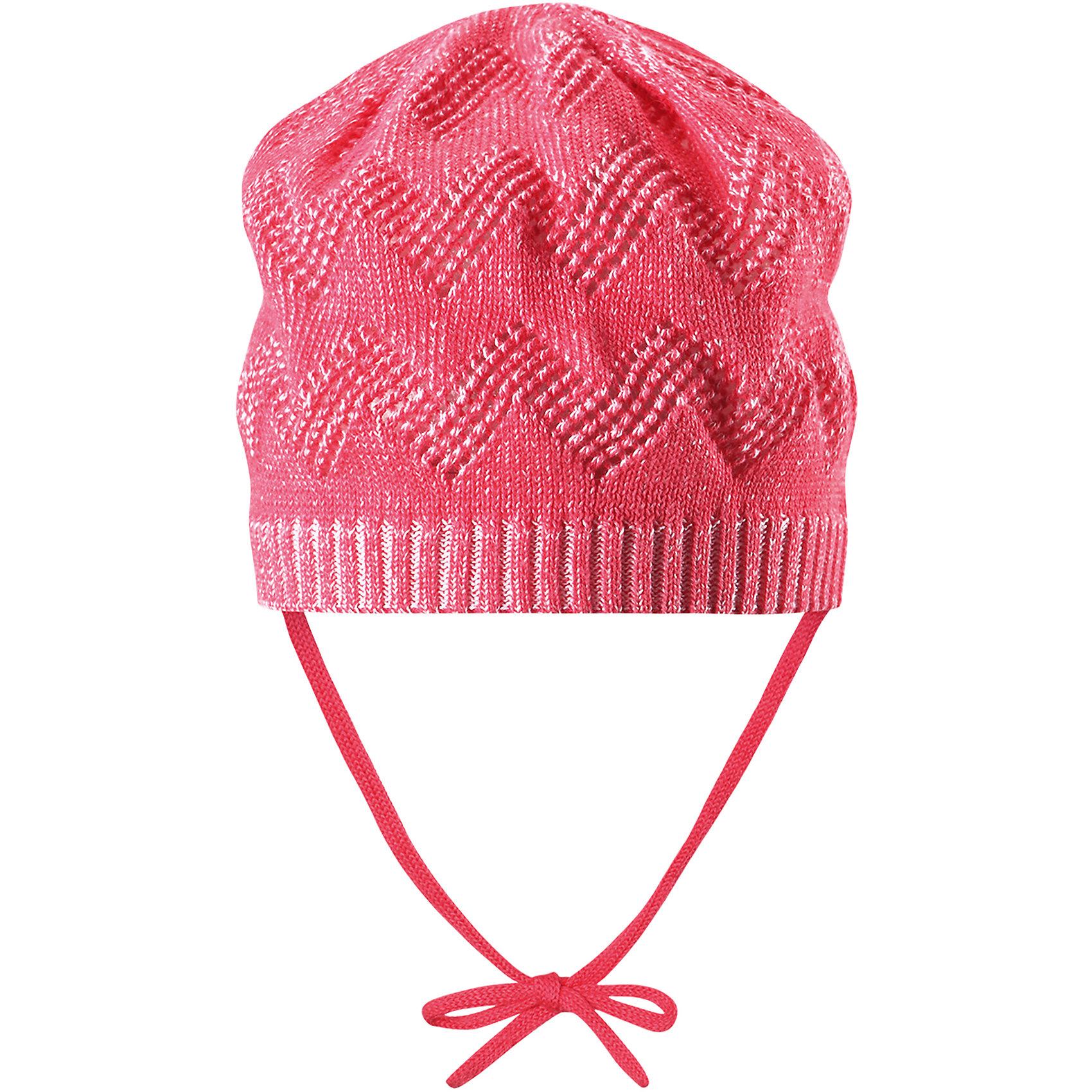 Шапка Lumme для девочки ReimaШапки и шарфы<br>Характеристики товара:<br><br>• цвет: розовый<br>• состав: 100% хлопок<br>• облегчённая модель без подкладки<br>• температурный режим: от +10С<br>• эластичный хлопковый трикотаж<br>• изделие сертифицированно по стандарту Oeko-Tex на продукцию класса 1 - одежда для новорождённых<br>• завязки во всех размерах<br>• эмблема Reima сзади<br>• ажурный узор<br>• страна бренда: Финляндия<br>• страна производства: Китай<br><br>Детский головной убор может быть модным и удобным одновременно! Стильная шапка поможет обеспечить ребенку комфорт и дополнить наряд. Шапка удобно сидит и аккуратно выглядит. Проста в уходе, долго служит. Стильный дизайн разрабатывался специально для детей. Отличная защита от дождя и ветра!<br><br>Уход:<br><br>• стирать по отдельности, вывернув наизнанку<br>• придать первоначальную форму вo влажном виде<br>• возможна усадка 5 %.<br><br>Шапку для девочки от финского бренда Reima (Рейма) можно купить в нашем интернет-магазине.<br><br>Ширина мм: 89<br>Глубина мм: 117<br>Высота мм: 44<br>Вес г: 155<br>Цвет: розовый<br>Возраст от месяцев: 6<br>Возраст до месяцев: 9<br>Пол: Женский<br>Возраст: Детский<br>Размер: 46,52,50,48<br>SKU: 5270926