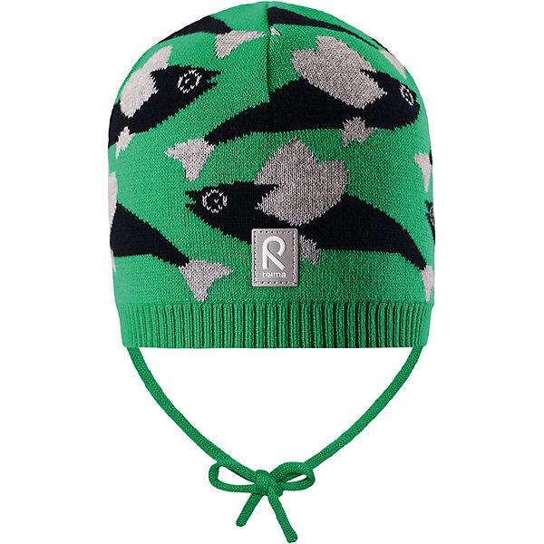 Шапка Harjus для мальчика ReimaШапки и шарфы<br>Характеристики товара:<br><br>• цвет: зелёный<br>• состав: 100% хлопок<br>• облегчённая модель без подкладки<br>• температурный режим: от +10С<br>• эластичный хлопковый трикотаж<br>• изделие сертифицированно по стандарту Oeko-Tex на продукцию класса 1 - одежда для новорождённых<br>• завязки во всех размерах<br>• эмблема Reima сзади<br>• сплошная жаккардовая узорная вязка<br>• страна бренда: Финляндия<br>• страна производства: Китай<br><br>Детский головной убор может быть модным и удобным одновременно! Стильная шапка поможет обеспечить ребенку комфорт и дополнить наряд.Шапка удобно сидит и аккуратно выглядит. Проста в уходе, долго служит. Стильный дизайн разрабатывался специально для детей. Отличная защита от дождя и ветра!<br><br>Уход:<br><br>• стирать по отдельности, вывернув наизнанку<br>• придать первоначальную форму вo влажном виде<br>• возможна усадка 5 %.<br><br>Шапку для мальчика от финского бренда Reima (Рейма) можно купить в нашем интернет-магазине.<br>Ширина мм: 89; Глубина мм: 117; Высота мм: 44; Вес г: 155; Цвет: зеленый; Возраст от месяцев: 9; Возраст до месяцев: 18; Пол: Мужской; Возраст: Детский; Размер: 48,50,52,46; SKU: 5270936;