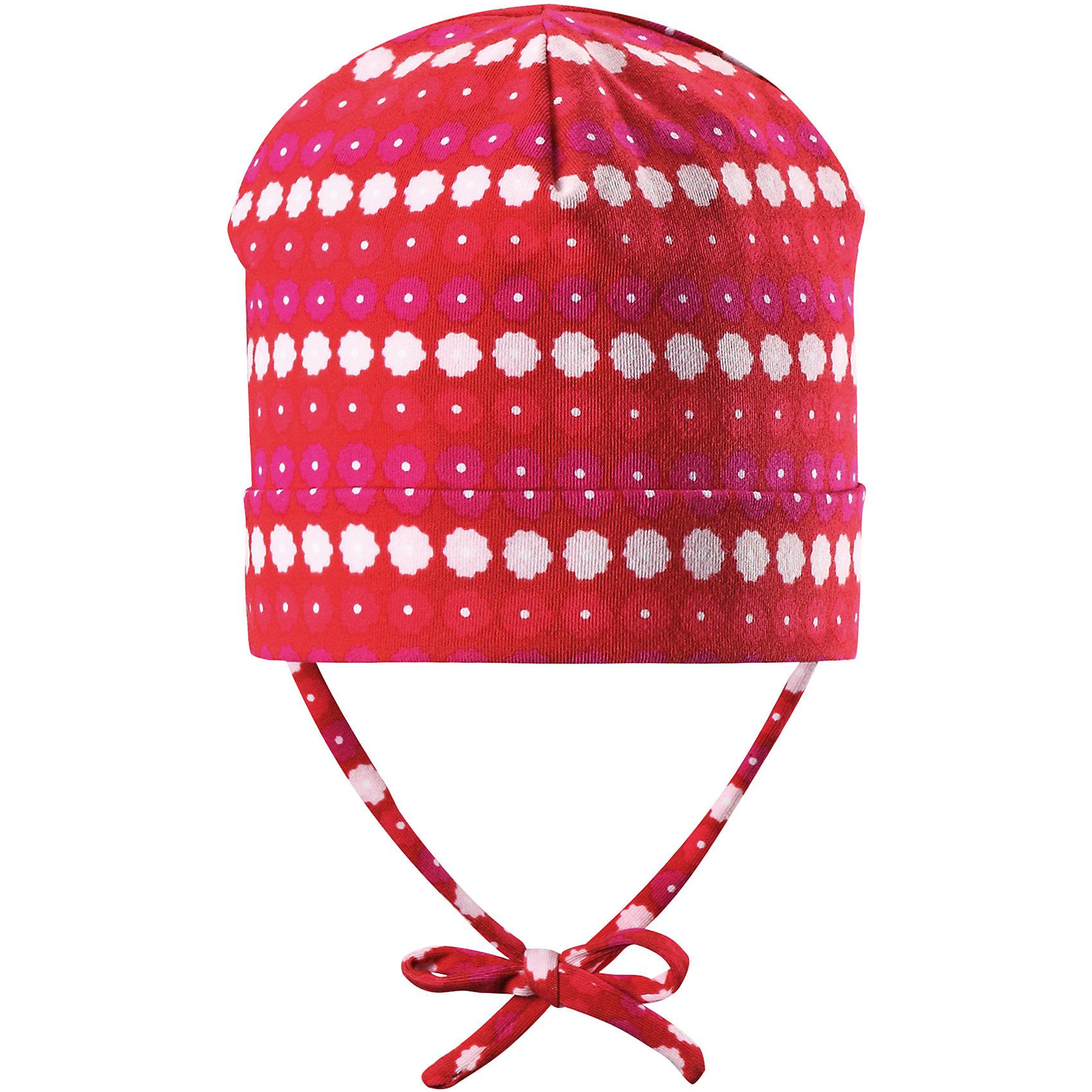Шапка Linna для девочки ReimaШапки и шарфы<br>Характеристики товара:<br><br>• цвет: красный<br>• состав: 65% хлопок, 30% полиэстер, 5% эластан<br>• сплошная подкладка: влаговыводящий трикотаж Play Jersey<br>• температурный режим: от 0С до +10С<br>• фактор защиты от ультрафиолета: 40+<br>• эластичный материал<br>• быстросохнущий, очень приятный на ощупь материал Play Jersey<br>• приятная на ощупь хлопковая поверхность<br>• влагоотводящая изнаночная сторона<br>• завязки во всех размерах<br>• эмблема Reima сзади<br>• страна бренда: Финляндия<br>• страна производства: Китай<br><br>Детский головной убор может быть модным и удобным одновременно! Стильная шапка поможет обеспечить ребенку комфорт и дополнить наряд. Шапка удобно сидит и аккуратно выглядит. Проста в уходе, долго служит. Стильный дизайн разрабатывался специально для детей. Отличная защита от дождя и ветра!<br><br>Уход:<br><br>• стирать с бельем одинакового цвета, вывернув наизнанку<br>• полоскать без специального средства<br>• придать первоначальную форму вo влажном виде.<br><br>Шапку от финского бренда Reima (Рейма) можно купить в нашем интернет-магазине.<br><br>Ширина мм: 89<br>Глубина мм: 117<br>Высота мм: 44<br>Вес г: 155<br>Цвет: красный<br>Возраст от месяцев: 9<br>Возраст до месяцев: 18<br>Пол: Женский<br>Возраст: Детский<br>Размер: 48,46,52,50<br>SKU: 5271040