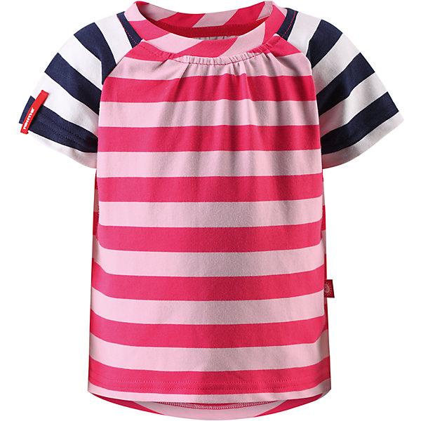 Футболка Sampi для девочки ReimaФутболки, поло и топы<br>Характеристики товара:<br><br>• цвет: розовый<br>• состав: 65% хлопок, 30% полиэстер, 5% эластан<br>• фактор защиты от ультрафиолета: 40+<br>• быстросохнущий, очень приятный на ощупь материал Play Jersey<br>• приятная на ощупь хлопковая поверхность<br>• влагоотводящая изнаночная сторона<br>• страна бренда: Финляндия<br>• страна производства: Китай<br><br>Одежда может быть модной и комфортной одновременно! Удобная симпатичная футболка поможет обеспечить ребенку комфорт - она не стесняет движения и удобно сидит. Модель стильно смотрится, отлично сочетается с различными головными уборами и обувью. Стильный дизайн разрабатывался специально для детей.<br><br>Уход:<br><br>• стирать и гладить, вывернув наизнанку<br>• стирать с бельем одинакового цвета<br>• стирать моющим средством, не содержащим отбеливающие вещества<br>• полоскать без специального средства<br>• придать первоначальную форму вo влажном виде.<br><br>Футболку для девочки от финского бренда Reima (Рейма) можно купить в нашем интернет-магазине.<br><br>Ширина мм: 199<br>Глубина мм: 10<br>Высота мм: 161<br>Вес г: 151<br>Цвет: розовый<br>Возраст от месяцев: 12<br>Возраст до месяцев: 18<br>Пол: Женский<br>Возраст: Детский<br>Размер: 86,80,92,98,104,122,128,116,110<br>SKU: 5271190