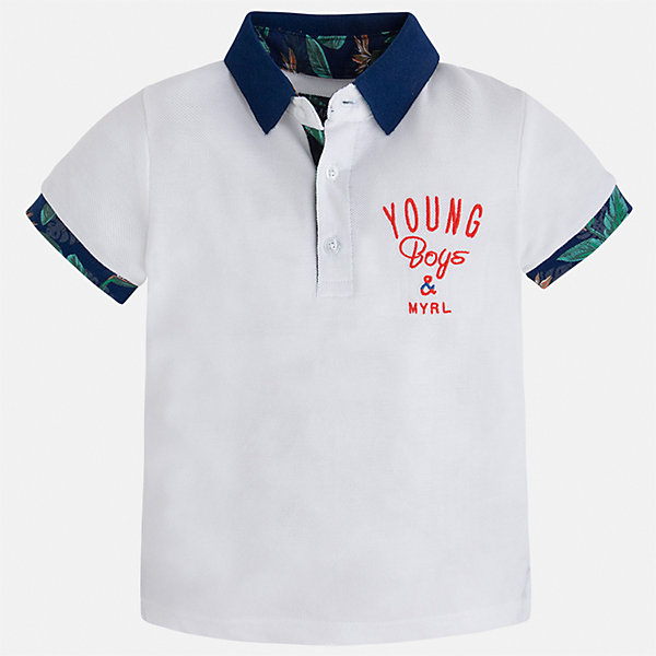 Футболка-поло для мальчика MayoralФутболки, поло и топы<br>Характеристики товара:<br><br>• цвет: белый<br>• состав: 100% хлопок<br>• отложной воротник<br>• короткие рукава<br>• застежка: пуговицы<br>• декорирована вышивкой<br>• страна бренда: Испания<br><br>Модная футболка-поло для мальчика может стать базовой вещью в гардеробе ребенка. Она отлично сочетается с брюками, шортами, джинсами и т.д. Универсальный крой и цвет позволяет подобрать к вещи низ разных расцветок. Практичное и стильное изделие! В составе материала - только натуральный хлопок, гипоаллергенный, приятный на ощупь, дышащий.<br><br>Одежда, обувь и аксессуары от испанского бренда Mayoral полюбились детям и взрослым по всему миру. Модели этой марки - стильные и удобные. Для их производства используются только безопасные, качественные материалы и фурнитура. Порадуйте ребенка модными и красивыми вещами от Mayoral! <br><br>Футболку-поло для мальчика от испанского бренда Mayoral (Майорал) можно купить в нашем интернет-магазине.<br>Ширина мм: 199; Глубина мм: 10; Высота мм: 161; Вес г: 151; Цвет: белый; Возраст от месяцев: 18; Возраст до месяцев: 24; Пол: Мужской; Возраст: Детский; Размер: 92,128,134,122,116,110,104,98; SKU: 5271850;