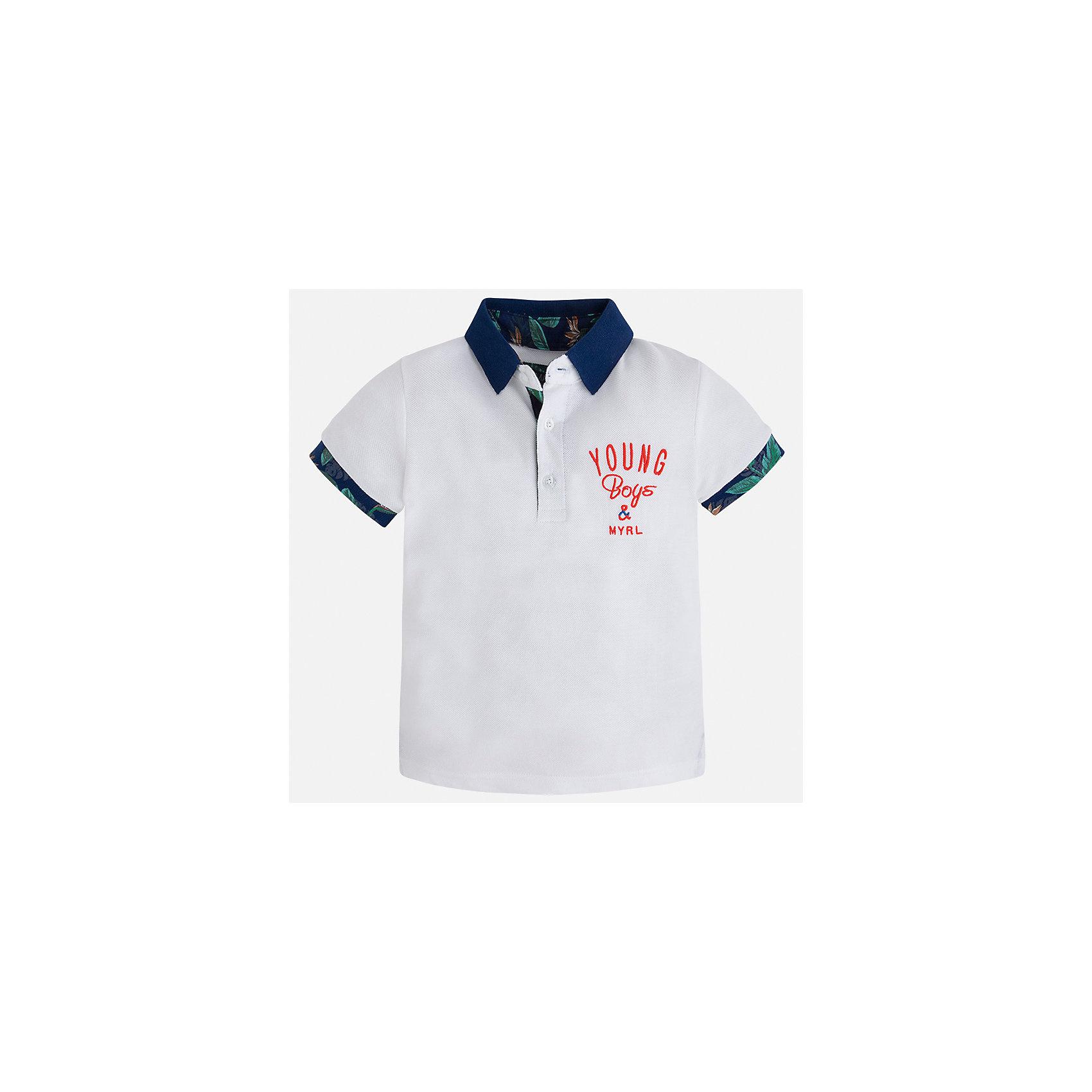 Футболка-поло для мальчика MayoralФутболки, поло и топы<br>Характеристики товара:<br><br>• цвет: белый<br>• состав: 100% хлопок<br>• отложной воротник<br>• короткие рукава<br>• застежка: пуговицы<br>• декорирована вышивкой<br>• страна бренда: Испания<br><br>Модная футболка-поло для мальчика может стать базовой вещью в гардеробе ребенка. Она отлично сочетается с брюками, шортами, джинсами и т.д. Универсальный крой и цвет позволяет подобрать к вещи низ разных расцветок. Практичное и стильное изделие! В составе материала - только натуральный хлопок, гипоаллергенный, приятный на ощупь, дышащий.<br><br>Одежда, обувь и аксессуары от испанского бренда Mayoral полюбились детям и взрослым по всему миру. Модели этой марки - стильные и удобные. Для их производства используются только безопасные, качественные материалы и фурнитура. Порадуйте ребенка модными и красивыми вещами от Mayoral! <br><br>Футболку-поло для мальчика от испанского бренда Mayoral (Майорал) можно купить в нашем интернет-магазине.<br><br>Ширина мм: 199<br>Глубина мм: 10<br>Высота мм: 161<br>Вес г: 151<br>Цвет: белый<br>Возраст от месяцев: 18<br>Возраст до месяцев: 24<br>Пол: Мужской<br>Возраст: Детский<br>Размер: 92,128,134,122,116,110,104,98<br>SKU: 5271850