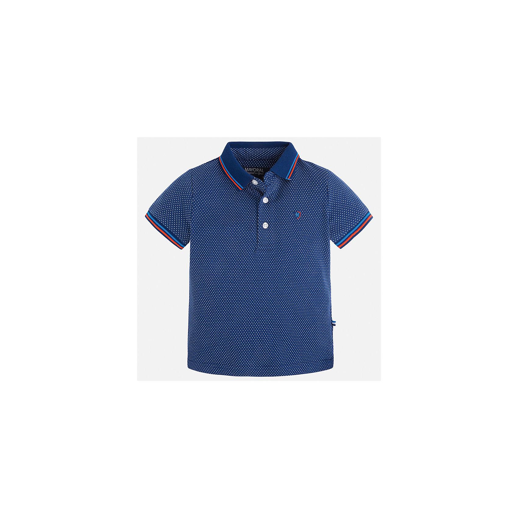 Футболка-поло для мальчика MayoralФутболки, поло и топы<br>Характеристики товара:<br><br>• цвет: синий<br>• состав: 100% хлопок<br>• отложной воротник<br>• короткие рукава<br>• застежка: пуговицы<br>• декорирована вышивкой<br>• страна бренда: Испания<br><br>Модная футболка-поло для мальчика может стать базовой вещью в гардеробе ребенка. Она отлично сочетается с брюками, шортами, джинсами и т.д. Универсальный крой и цвет позволяет подобрать к вещи низ разных расцветок. Практичное и стильное изделие! В составе материала - только натуральный хлопок, гипоаллергенный, приятный на ощупь, дышащий.<br><br>Одежда, обувь и аксессуары от испанского бренда Mayoral полюбились детям и взрослым по всему миру. Модели этой марки - стильные и удобные. Для их производства используются только безопасные, качественные материалы и фурнитура. Порадуйте ребенка модными и красивыми вещами от Mayoral! <br><br>Футболку-поло для мальчика от испанского бренда Mayoral (Майорал) можно купить в нашем интернет-магазине.<br><br>Ширина мм: 199<br>Глубина мм: 10<br>Высота мм: 161<br>Вес г: 151<br>Цвет: синий<br>Возраст от месяцев: 48<br>Возраст до месяцев: 60<br>Пол: Мужской<br>Возраст: Детский<br>Размер: 110,134,116,128,92,98,122,104<br>SKU: 5271868