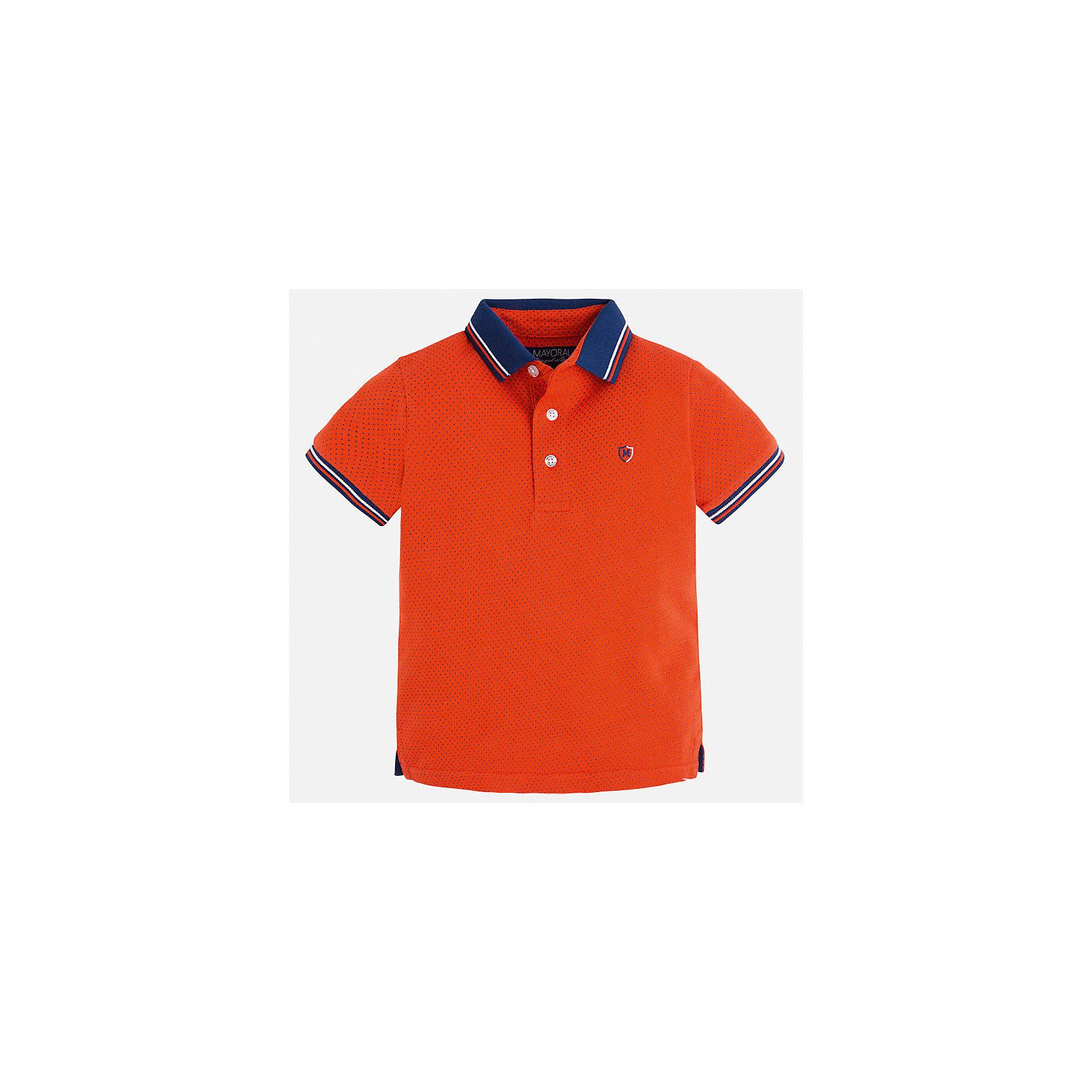 Футболка-поло для мальчика MayoralХарактеристики товара:<br><br>• цвет: красный<br>• состав: 100% хлопок<br>• отложной воротник<br>• короткие рукава<br>• застежка: пуговицы<br>• декорирована вышивкой<br>• страна бренда: Испания<br><br>Модная футболка-поло для мальчика может стать базовой вещью в гардеробе ребенка. Она отлично сочетается с брюками, шортами, джинсами и т.д. Универсальный крой и цвет позволяет подобрать к вещи низ разных расцветок. Практичное и стильное изделие! В составе материала - только натуральный хлопок, гипоаллергенный, приятный на ощупь, дышащий.<br><br>Одежда, обувь и аксессуары от испанского бренда Mayoral полюбились детям и взрослым по всему миру. Модели этой марки - стильные и удобные. Для их производства используются только безопасные, качественные материалы и фурнитура. Порадуйте ребенка модными и красивыми вещами от Mayoral! <br><br>Футболку-поло для мальчика от испанского бренда Mayoral (Майорал) можно купить в нашем интернет-магазине.<br><br>Ширина мм: 199<br>Глубина мм: 10<br>Высота мм: 161<br>Вес г: 151<br>Цвет: красный<br>Возраст от месяцев: 84<br>Возраст до месяцев: 96<br>Пол: Мужской<br>Возраст: Детский<br>Размер: 128,122,134,104,110,92,98,116<br>SKU: 5271877