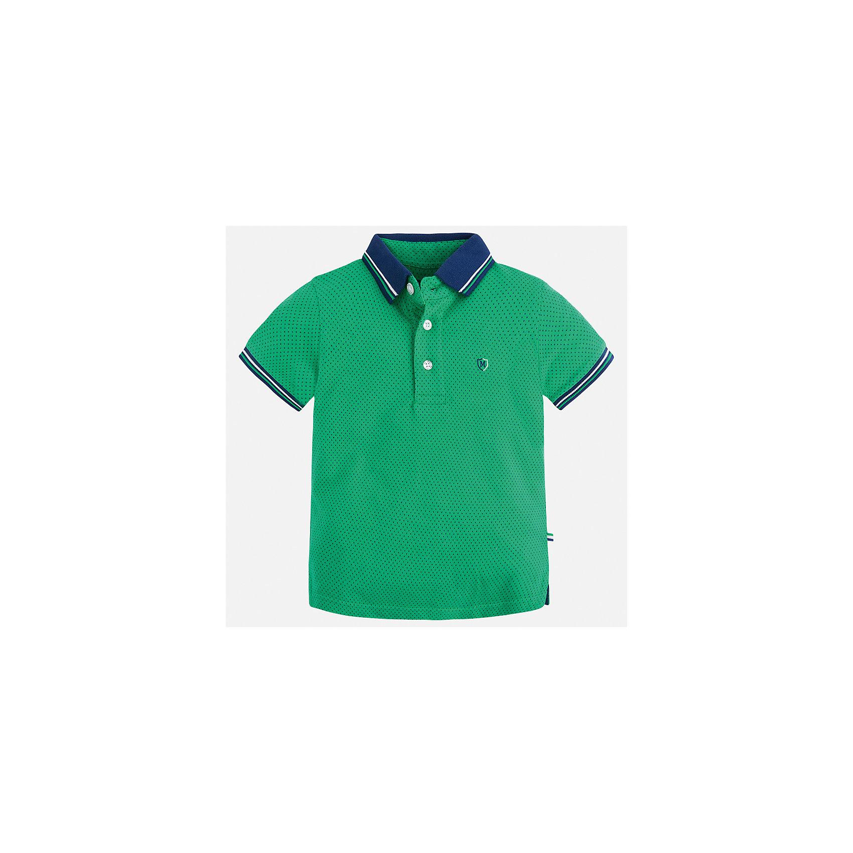 Футболка-поло для мальчика MayoralФутболки, поло и топы<br>Характеристики товара:<br><br>• цвет: зеленый<br>• состав: 100% хлопок<br>• отложной воротник<br>• короткие рукава<br>• застежка: пуговицы<br>• декорирована вышивкой<br>• страна бренда: Испания<br><br>Модная футболка-поло для мальчика может стать базовой вещью в гардеробе ребенка. Она отлично сочетается с брюками, шортами, джинсами и т.д. Универсальный крой и цвет позволяет подобрать к вещи низ разных расцветок. Практичное и стильное изделие! В составе материала - только натуральный хлопок, гипоаллергенный, приятный на ощупь, дышащий.<br><br>Одежда, обувь и аксессуары от испанского бренда Mayoral полюбились детям и взрослым по всему миру. Модели этой марки - стильные и удобные. Для их производства используются только безопасные, качественные материалы и фурнитура. Порадуйте ребенка модными и красивыми вещами от Mayoral! <br><br>Футболку-поло для мальчика от испанского бренда Mayoral (Майорал) можно купить в нашем интернет-магазине.<br><br>Ширина мм: 199<br>Глубина мм: 10<br>Высота мм: 161<br>Вес г: 151<br>Цвет: зеленый<br>Возраст от месяцев: 48<br>Возраст до месяцев: 60<br>Пол: Мужской<br>Возраст: Детский<br>Размер: 110,98,134,116,92,122,104,128<br>SKU: 5271886