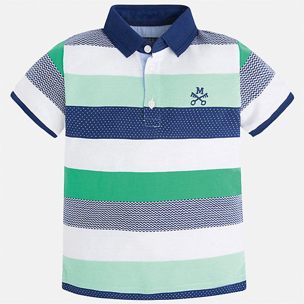 Футболка-поло для мальчика MayoralФутболки, поло и топы<br>Характеристики товара:<br><br>• цвет: белый/зеленый/синий<br>• состав: 100% хлопок<br>• отложной воротник<br>• короткие рукава<br>• застежка: пуговицы<br>• декорирована вышивкой<br>• страна бренда: Испания<br><br>Модная футболка-поло для мальчика может стать базовой вещью в гардеробе ребенка. Она отлично сочетается с брюками, шортами, джинсами и т.д. Универсальный крой и цвет позволяет подобрать к вещи низ разных расцветок. Практичное и стильное изделие! В составе материала - только натуральный хлопок, гипоаллергенный, приятный на ощупь, дышащий.<br><br>Одежда, обувь и аксессуары от испанского бренда Mayoral полюбились детям и взрослым по всему миру. Модели этой марки - стильные и удобные. Для их производства используются только безопасные, качественные материалы и фурнитура. Порадуйте ребенка модными и красивыми вещами от Mayoral! <br><br>Футболку-поло для мальчика от испанского бренда Mayoral (Майорал) можно купить в нашем интернет-магазине.<br><br>Ширина мм: 230<br>Глубина мм: 40<br>Высота мм: 220<br>Вес г: 250<br>Цвет: зеленый<br>Возраст от месяцев: 18<br>Возраст до месяцев: 24<br>Пол: Мужской<br>Возраст: Детский<br>Размер: 92,134,128,110,104,98,116,122<br>SKU: 5271904