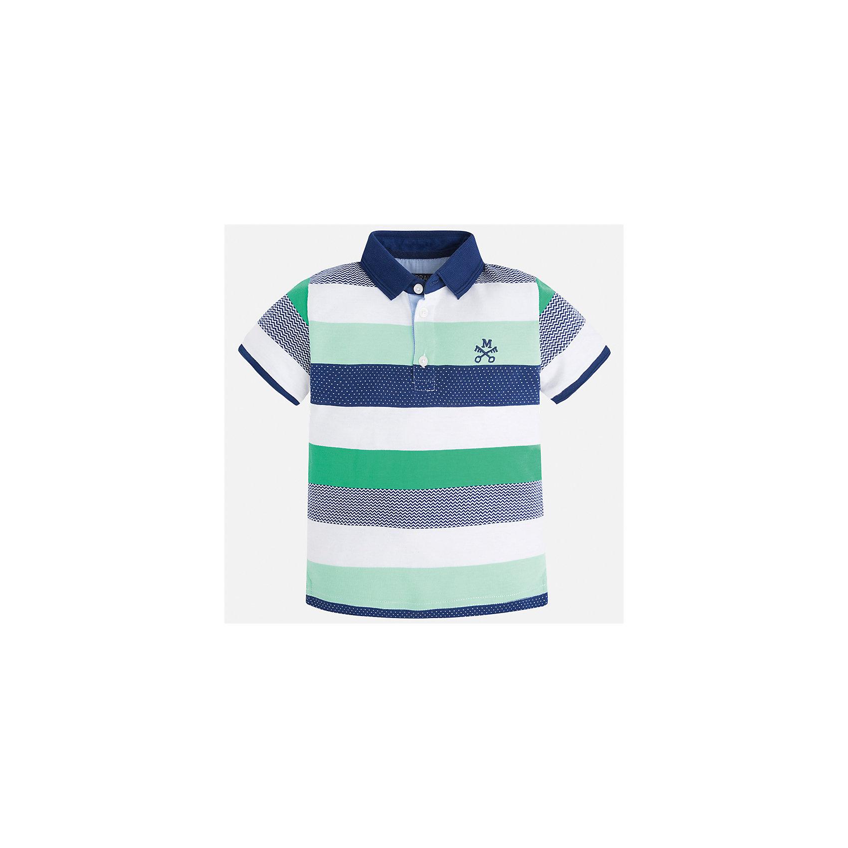 Рубашка-поло для мальчика MayoralХарактеристики товара:<br><br>• цвет: белый/зеленый/синий<br>• состав: 100% хлопок<br>• отложной воротник<br>• короткие рукава<br>• застежка: пуговицы<br>• декорирована вышивкой<br>• страна бренда: Испания<br><br>Модная футболка-поло для мальчика может стать базовой вещью в гардеробе ребенка. Она отлично сочетается с брюками, шортами, джинсами и т.д. Универсальный крой и цвет позволяет подобрать к вещи низ разных расцветок. Практичное и стильное изделие! В составе материала - только натуральный хлопок, гипоаллергенный, приятный на ощупь, дышащий.<br><br>Одежда, обувь и аксессуары от испанского бренда Mayoral полюбились детям и взрослым по всему миру. Модели этой марки - стильные и удобные. Для их производства используются только безопасные, качественные материалы и фурнитура. Порадуйте ребенка модными и красивыми вещами от Mayoral! <br><br>Футболку-поло для мальчика от испанского бренда Mayoral (Майорал) можно купить в нашем интернет-магазине.<br><br>Ширина мм: 230<br>Глубина мм: 40<br>Высота мм: 220<br>Вес г: 250<br>Цвет: зеленый<br>Возраст от месяцев: 84<br>Возраст до месяцев: 96<br>Пол: Мужской<br>Возраст: Детский<br>Размер: 128,134,122,116,92,98,104,110<br>SKU: 5271904