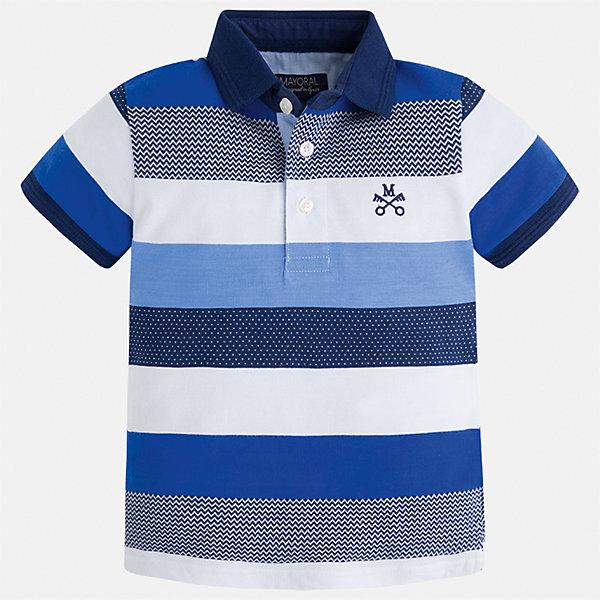 Футболка-поло для мальчика MayoralФутболки, поло и топы<br>Характеристики товара:<br><br>• цвет: белый/синий<br>• состав: 100% хлопок<br>• отложной воротник<br>• короткие рукава<br>• застежка: пуговицы<br>• декорирована вышивкой<br>• страна бренда: Испания<br><br>Модная футболку-поло для мальчика может стать базовой вещью в гардеробе ребенка. Она отлично сочетается с брюками, шортами, джинсами и т.д. Универсальный крой и цвет позволяет подобрать к вещи низ разных расцветок. Практичное и стильное изделие! В составе материала - только натуральный хлопок, гипоаллергенный, приятный на ощупь, дышащий.<br><br>Одежда, обувь и аксессуары от испанского бренда Mayoral полюбились детям и взрослым по всему миру. Модели этой марки - стильные и удобные. Для их производства используются только безопасные, качественные материалы и фурнитура. Порадуйте ребенка модными и красивыми вещами от Mayoral! <br><br>Футболку-поло для мальчика от испанского бренда Mayoral (Майорал) можно купить в нашем интернет-магазине.<br>Ширина мм: 230; Глубина мм: 40; Высота мм: 220; Вес г: 250; Цвет: голубой; Возраст от месяцев: 18; Возраст до месяцев: 24; Пол: Мужской; Возраст: Детский; Размер: 92,128,110,104,134,98,122,116; SKU: 5271913;