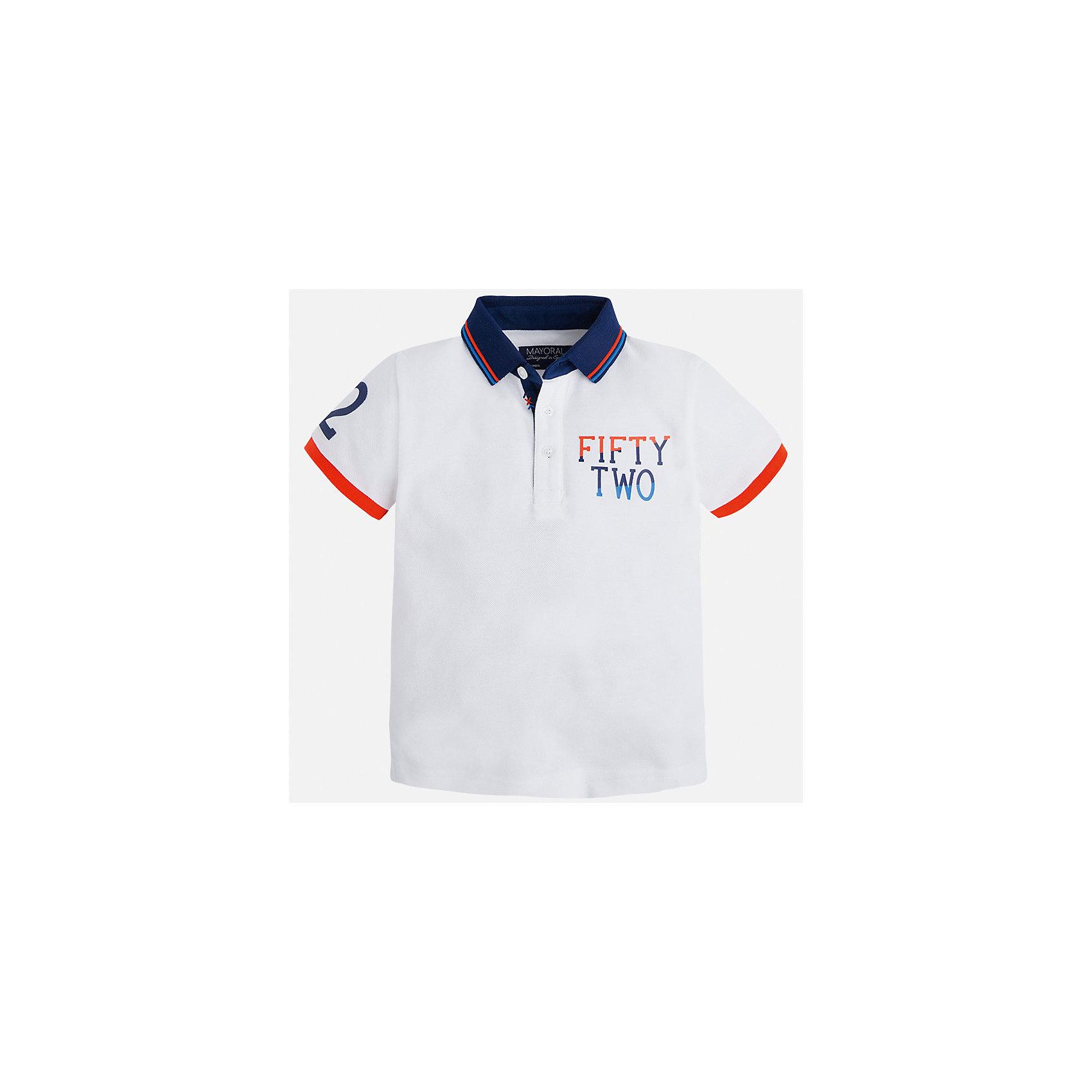 Рубашка-поло для мальчика MayoralХарактеристики товара:<br><br>• цвет: белый<br>• состав: 100% хлопок<br>• отложной воротник<br>• короткие рукава<br>• застежка: пуговицы<br>• декорирована принтом<br>• страна бренда: Испания<br><br>Стильная футболка-поло для мальчика может стать базовой вещью в гардеробе ребенка. Она отлично сочетается с брюками, шортами, джинсами и т.д. Универсальный крой и цвет позволяет подобрать к вещи низ разных расцветок. Практичное и стильное изделие! В составе материала - только натуральный хлопок, гипоаллергенный, приятный на ощупь, дышащий.<br><br>Одежда, обувь и аксессуары от испанского бренда Mayoral полюбились детям и взрослым по всему миру. Модели этой марки - стильные и удобные. Для их производства используются только безопасные, качественные материалы и фурнитура. Порадуйте ребенка модными и красивыми вещами от Mayoral! <br><br>Футболку-поло для мальчика от испанского бренда Mayoral (Майорал) можно купить в нашем интернет-магазине.<br><br>Ширина мм: 230<br>Глубина мм: 40<br>Высота мм: 220<br>Вес г: 250<br>Цвет: белый<br>Возраст от месяцев: 36<br>Возраст до месяцев: 48<br>Пол: Мужской<br>Возраст: Детский<br>Размер: 104,92,98,110,116,128,134,122<br>SKU: 5271922