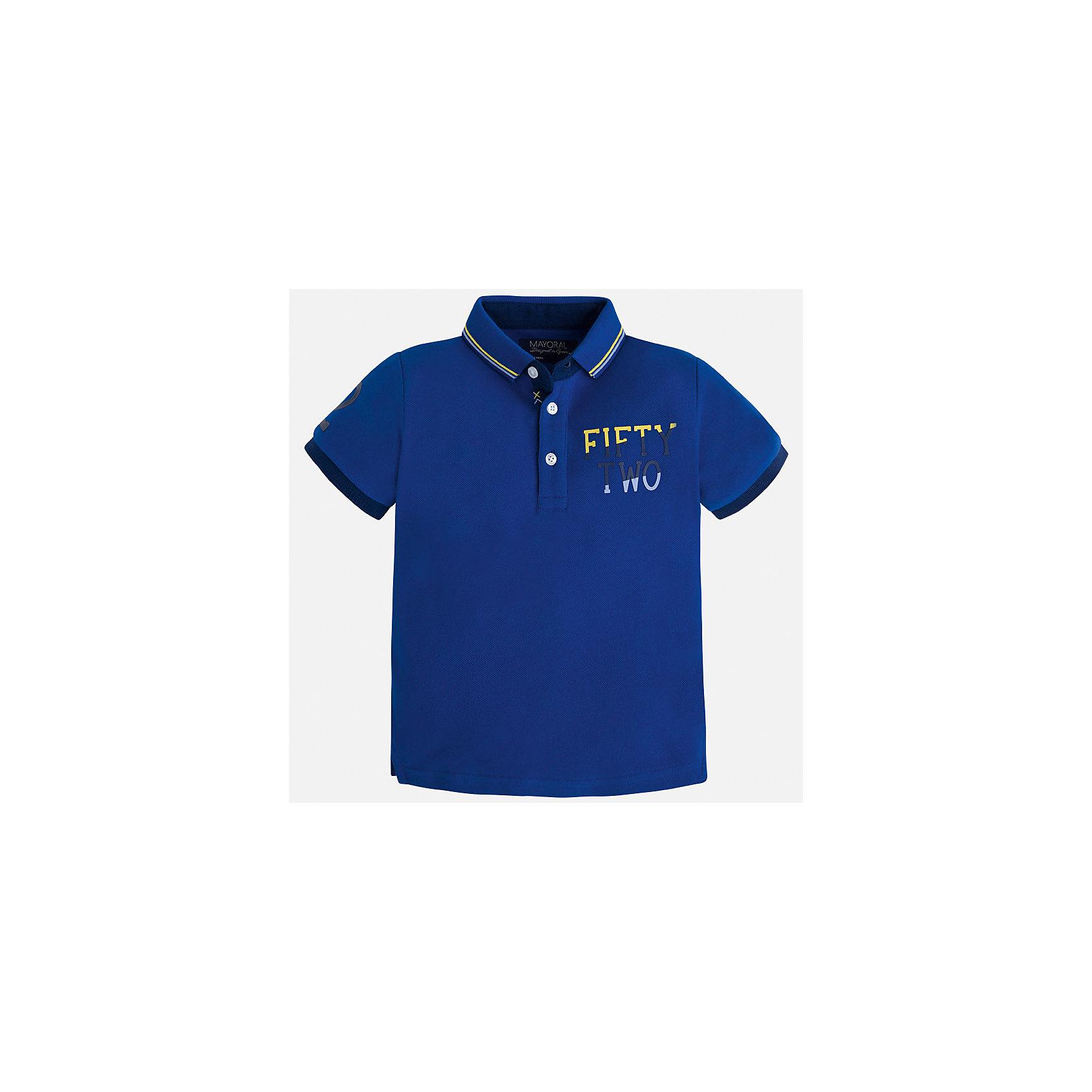 Футболка-поло для мальчика MayoralФутболки, поло и топы<br>Характеристики товара:<br><br>• цвет: синий<br>• состав: 100% хлопок<br>• отложной воротник<br>• короткие рукава<br>• застежка: пуговицы<br>• декорирована принтом<br>• страна бренда: Испания<br><br>Стильная футболка-поло для мальчика может стать базовой вещью в гардеробе ребенка. Она отлично сочетается с брюками, шортами, джинсами и т.д. Универсальный крой и цвет позволяет подобрать к вещи низ разных расцветок. Практичное и стильное изделие! В составе материала - только натуральный хлопок, гипоаллергенный, приятный на ощупь, дышащий.<br><br>Одежда, обувь и аксессуары от испанского бренда Mayoral полюбились детям и взрослым по всему миру. Модели этой марки - стильные и удобные. Для их производства используются только безопасные, качественные материалы и фурнитура. Порадуйте ребенка модными и красивыми вещами от Mayoral! <br><br>Футболку-поло для мальчика от испанского бренда Mayoral (Майорал) можно купить в нашем интернет-магазине.<br><br>Ширина мм: 230<br>Глубина мм: 40<br>Высота мм: 220<br>Вес г: 250<br>Цвет: голубой<br>Возраст от месяцев: 48<br>Возраст до месяцев: 60<br>Пол: Мужской<br>Возраст: Детский<br>Размер: 110,134,122,98,104,116,128,92<br>SKU: 5271931