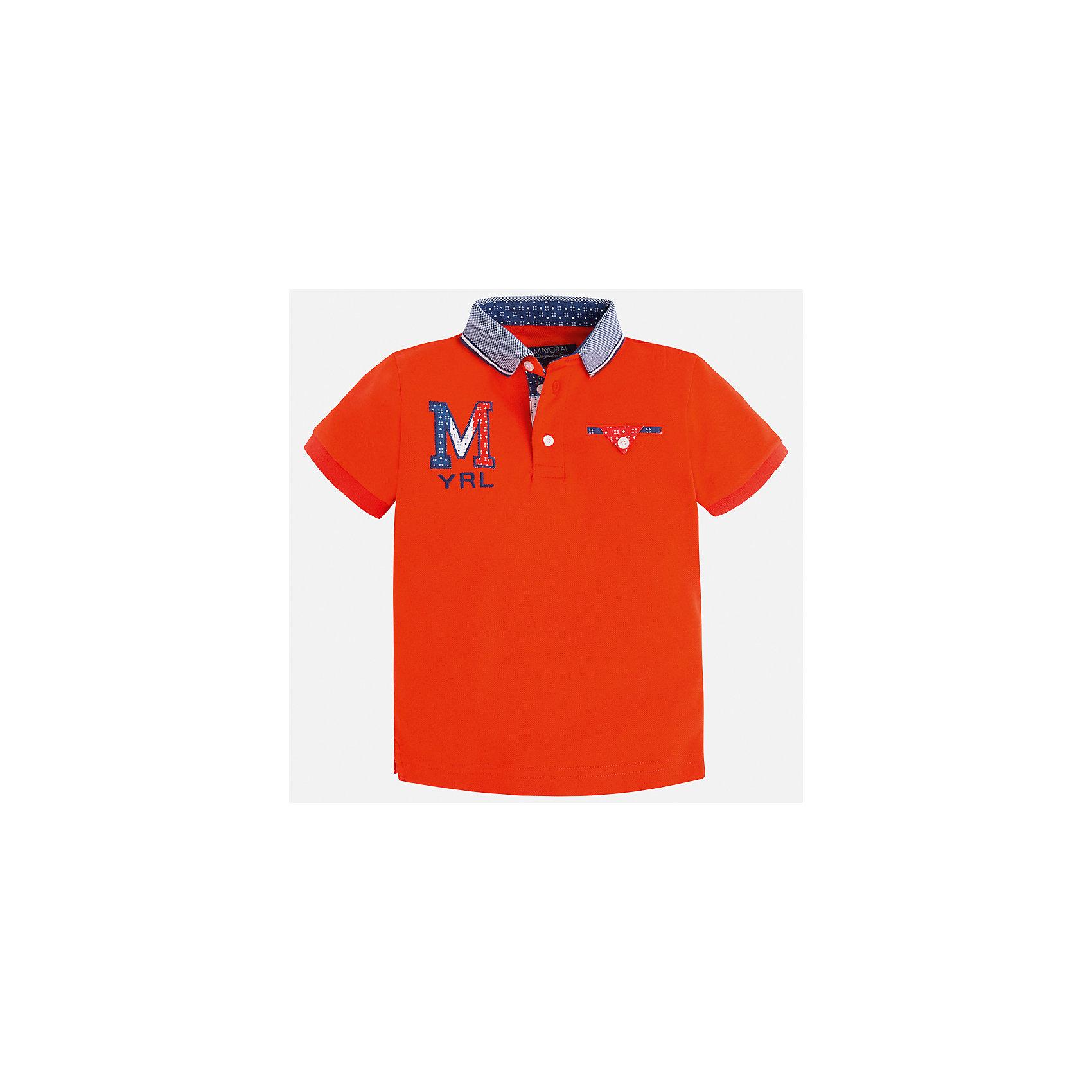 Футболка-поло для мальчика MayoralФутболки, поло и топы<br>Характеристики товара:<br><br>• цвет: красный<br>• состав: 100% хлопок<br>• отложной воротник<br>• приятный на ощупь материал<br>• застежка: пуговицы<br>• страна бренда: Испания<br><br>Стильная футболка-поло для мальчика может стать базовой вещью в гардеробе ребенка. Она отлично сочетается с брюками, шортами, джинсами и т.д. Универсальный крой и цвет позволяет подобрать к вещи низ разных расцветок. Практичное и стильное изделие! В составе материала - только натуральный хлопок, гипоаллергенный, приятный на ощупь, дышащий.<br><br>Одежда, обувь и аксессуары от испанского бренда Mayoral полюбились детям и взрослым по всему миру. Модели этой марки - стильные и удобные. Для их производства используются только безопасные, качественные материалы и фурнитура. Порадуйте ребенка модными и красивыми вещами от Mayoral! <br><br>Футболку-поло для мальчика от испанского бренда Mayoral (Майорал) можно купить в нашем интернет-магазине.<br><br>Ширина мм: 230<br>Глубина мм: 40<br>Высота мм: 220<br>Вес г: 250<br>Цвет: красный<br>Возраст от месяцев: 36<br>Возраст до месяцев: 48<br>Пол: Мужской<br>Возраст: Детский<br>Размер: 104,110,116,122,134,128,92,98<br>SKU: 5271940