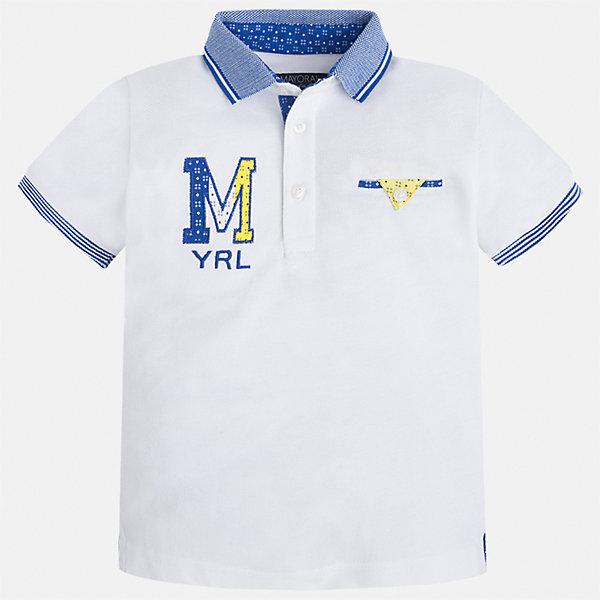 Футболка-поло для мальчика MayoralФутболки, поло и топы<br>Характеристики товара:<br><br>• цвет: белый<br>• состав: 100% хлопок<br>• отложной воротник<br>• приятный на ощупь материал<br>• застежка: пуговицы<br>• страна бренда: Испания<br><br>Стильная футболка-поло для мальчика может стать базовой вещью в гардеробе ребенка. Она отлично сочетается с брюками, шортами, джинсами и т.д. Универсальный крой и цвет позволяет подобрать к вещи низ разных расцветок. Практичное и стильное изделие! В составе материала - только натуральный хлопок, гипоаллергенный, приятный на ощупь, дышащий.<br><br>Одежда, обувь и аксессуары от испанского бренда Mayoral полюбились детям и взрослым по всему миру. Модели этой марки - стильные и удобные. Для их производства используются только безопасные, качественные материалы и фурнитура. Порадуйте ребенка модными и красивыми вещами от Mayoral! <br><br>Футболку-поло для мальчика от испанского бренда Mayoral (Майорал) можно купить в нашем интернет-магазине.<br>Ширина мм: 230; Глубина мм: 40; Высота мм: 220; Вес г: 250; Цвет: белый; Возраст от месяцев: 18; Возраст до месяцев: 24; Пол: Мужской; Возраст: Детский; Размер: 92,128,110,134,122,98,116,104; SKU: 5271949;