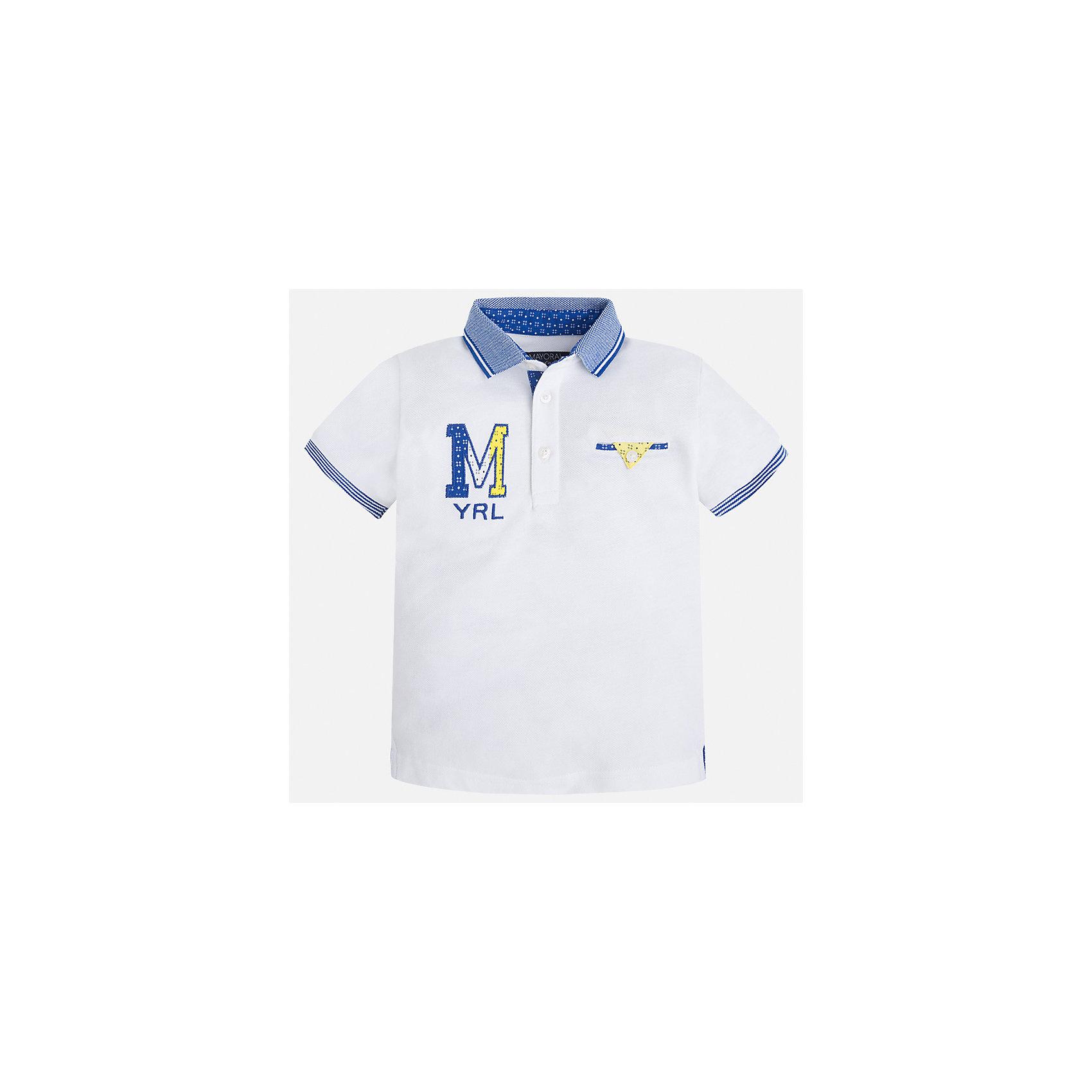 Футболка-поло для мальчика MayoralФутболки, поло и топы<br>Характеристики товара:<br><br>• цвет: белый<br>• состав: 100% хлопок<br>• отложной воротник<br>• приятный на ощупь материал<br>• застежка: пуговицы<br>• страна бренда: Испания<br><br>Стильная футболка-поло для мальчика может стать базовой вещью в гардеробе ребенка. Она отлично сочетается с брюками, шортами, джинсами и т.д. Универсальный крой и цвет позволяет подобрать к вещи низ разных расцветок. Практичное и стильное изделие! В составе материала - только натуральный хлопок, гипоаллергенный, приятный на ощупь, дышащий.<br><br>Одежда, обувь и аксессуары от испанского бренда Mayoral полюбились детям и взрослым по всему миру. Модели этой марки - стильные и удобные. Для их производства используются только безопасные, качественные материалы и фурнитура. Порадуйте ребенка модными и красивыми вещами от Mayoral! <br><br>Футболку-поло для мальчика от испанского бренда Mayoral (Майорал) можно купить в нашем интернет-магазине.<br><br>Ширина мм: 230<br>Глубина мм: 40<br>Высота мм: 220<br>Вес г: 250<br>Цвет: белый<br>Возраст от месяцев: 84<br>Возраст до месяцев: 96<br>Пол: Мужской<br>Возраст: Детский<br>Размер: 128,110,134,92,122,98,116,104<br>SKU: 5271949