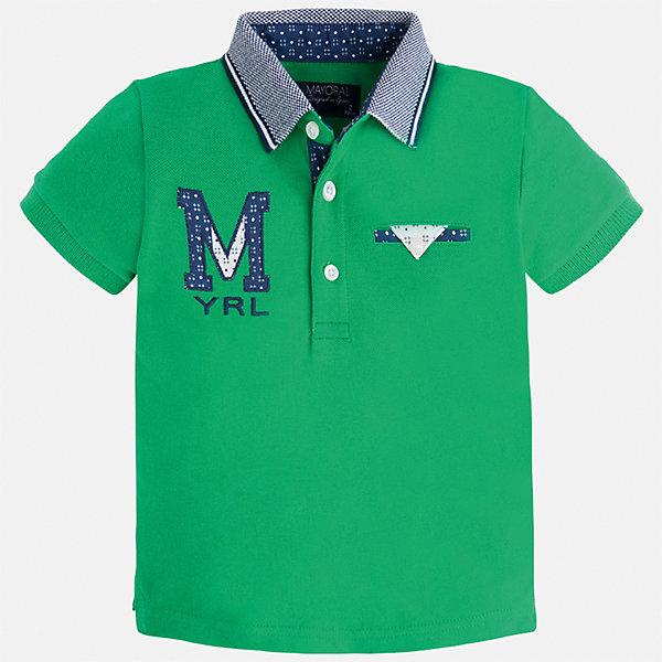 Футболка-поло для мальчика MayoralФутболки, поло и топы<br>Характеристики товара:<br><br>• цвет: зеленый<br>• состав: 100% хлопок<br>• отложной воротник<br>• приятный на ощупь материал<br>• застежка: пуговицы<br>• страна бренда: Испания<br><br>Стильная футболка-поло для мальчика может стать базовой вещью в гардеробе ребенка. Она отлично сочетается с брюками, шортами, джинсами и т.д. Универсальный крой и цвет позволяет подобрать к вещи низ разных расцветок. Практичное и стильное изделие! В составе материала - только натуральный хлопок, гипоаллергенный, приятный на ощупь, дышащий.<br><br>Одежда, обувь и аксессуары от испанского бренда Mayoral полюбились детям и взрослым по всему миру. Модели этой марки - стильные и удобные. Для их производства используются только безопасные, качественные материалы и фурнитура. Порадуйте ребенка модными и красивыми вещами от Mayoral! <br><br>Футболку-поло для мальчика от испанского бренда Mayoral (Майорал) можно купить в нашем интернет-магазине.<br><br>Ширина мм: 230<br>Глубина мм: 40<br>Высота мм: 220<br>Вес г: 250<br>Цвет: зеленый<br>Возраст от месяцев: 18<br>Возраст до месяцев: 24<br>Пол: Мужской<br>Возраст: Детский<br>Размер: 92,134,98,104,110,116,128,122<br>SKU: 5271958