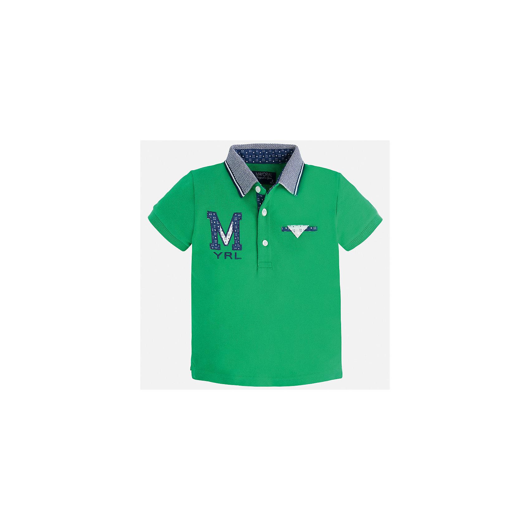 Футболка-поло для мальчика MayoralФутболки, поло и топы<br>Характеристики товара:<br><br>• цвет: зеленый<br>• состав: 100% хлопок<br>• отложной воротник<br>• приятный на ощупь материал<br>• застежка: пуговицы<br>• страна бренда: Испания<br><br>Стильная футболка-поло для мальчика может стать базовой вещью в гардеробе ребенка. Она отлично сочетается с брюками, шортами, джинсами и т.д. Универсальный крой и цвет позволяет подобрать к вещи низ разных расцветок. Практичное и стильное изделие! В составе материала - только натуральный хлопок, гипоаллергенный, приятный на ощупь, дышащий.<br><br>Одежда, обувь и аксессуары от испанского бренда Mayoral полюбились детям и взрослым по всему миру. Модели этой марки - стильные и удобные. Для их производства используются только безопасные, качественные материалы и фурнитура. Порадуйте ребенка модными и красивыми вещами от Mayoral! <br><br>Футболку-поло для мальчика от испанского бренда Mayoral (Майорал) можно купить в нашем интернет-магазине.<br><br>Ширина мм: 230<br>Глубина мм: 40<br>Высота мм: 220<br>Вес г: 250<br>Цвет: зеленый<br>Возраст от месяцев: 96<br>Возраст до месяцев: 108<br>Пол: Мужской<br>Возраст: Детский<br>Размер: 122,128,116,110,104,134,92,98<br>SKU: 5271958