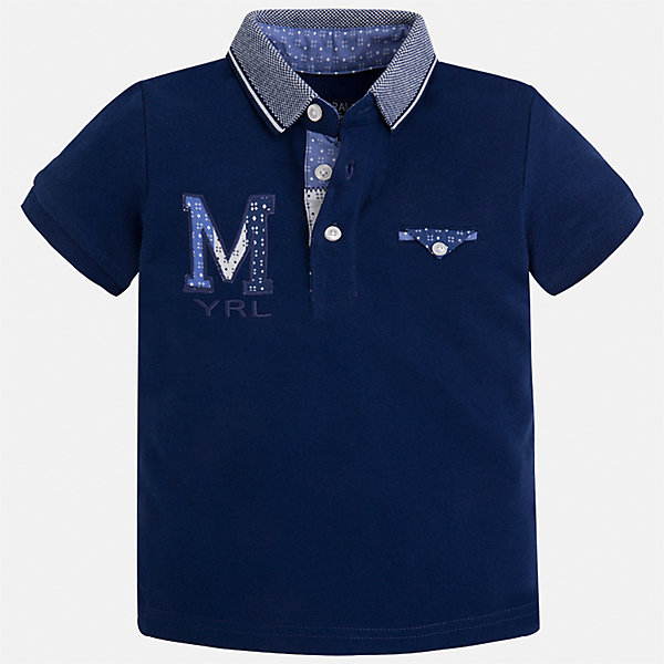 Футболка-поло для мальчика MayoralФутболки, поло и топы<br>Характеристики товара:<br><br>• цвет: темно-синий<br>• состав: 100% хлопок<br>• отложной воротник<br>• приятный на ощупь материал<br>• застежка: пуговицы<br>• страна бренда: Испания<br><br>Стильная футболка-поло для мальчика может стать базовой вещью в гардеробе ребенка. Она отлично сочетается с брюками, шортами, джинсами и т.д. Универсальный крой и цвет позволяет подобрать к вещи низ разных расцветок. Практичное и стильное изделие! В составе материала - только натуральный хлопок, гипоаллергенный, приятный на ощупь, дышащий.<br><br>Одежда, обувь и аксессуары от испанского бренда Mayoral полюбились детям и взрослым по всему миру. Модели этой марки - стильные и удобные. Для их производства используются только безопасные, качественные материалы и фурнитура. Порадуйте ребенка модными и красивыми вещами от Mayoral! <br><br>Футболку-поло для мальчика от испанского бренда Mayoral (Майорал) можно купить в нашем интернет-магазине.<br><br>Ширина мм: 230<br>Глубина мм: 40<br>Высота мм: 220<br>Вес г: 250<br>Цвет: черный<br>Возраст от месяцев: 18<br>Возраст до месяцев: 24<br>Пол: Мужской<br>Возраст: Детский<br>Размер: 92,98,134,104,128,116,122,110<br>SKU: 5271967