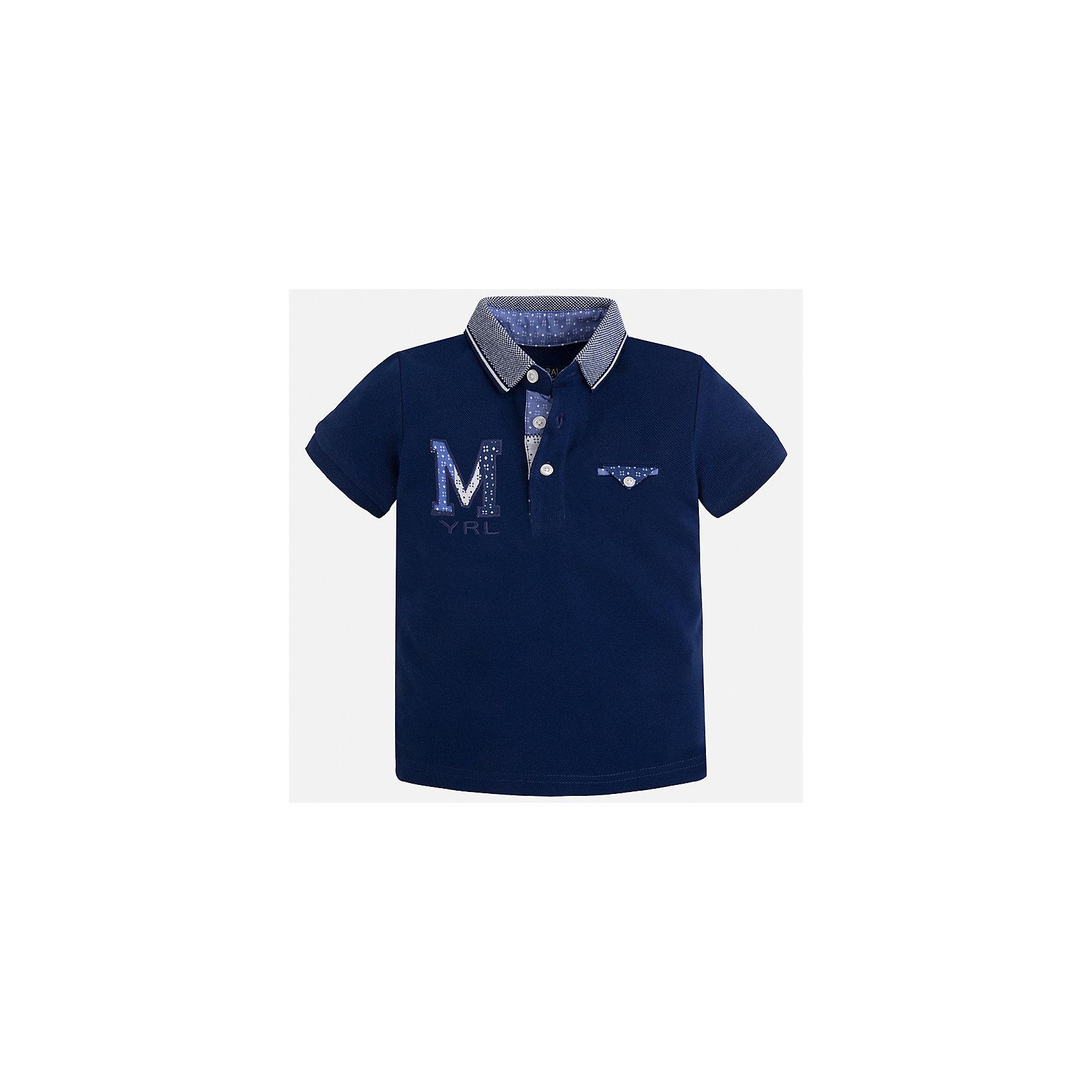 Футболка-поло для мальчика MayoralФутболки, поло и топы<br>Характеристики товара:<br><br>• цвет: темно-синий<br>• состав: 100% хлопок<br>• отложной воротник<br>• приятный на ощупь материал<br>• застежка: пуговицы<br>• страна бренда: Испания<br><br>Стильная футболка-поло для мальчика может стать базовой вещью в гардеробе ребенка. Она отлично сочетается с брюками, шортами, джинсами и т.д. Универсальный крой и цвет позволяет подобрать к вещи низ разных расцветок. Практичное и стильное изделие! В составе материала - только натуральный хлопок, гипоаллергенный, приятный на ощупь, дышащий.<br><br>Одежда, обувь и аксессуары от испанского бренда Mayoral полюбились детям и взрослым по всему миру. Модели этой марки - стильные и удобные. Для их производства используются только безопасные, качественные материалы и фурнитура. Порадуйте ребенка модными и красивыми вещами от Mayoral! <br><br>Футболку-поло для мальчика от испанского бренда Mayoral (Майорал) можно купить в нашем интернет-магазине.<br><br>Ширина мм: 230<br>Глубина мм: 40<br>Высота мм: 220<br>Вес г: 250<br>Цвет: черный<br>Возраст от месяцев: 24<br>Возраст до месяцев: 36<br>Пол: Мужской<br>Возраст: Детский<br>Размер: 98,92,110,122,116,128,104,134<br>SKU: 5271967