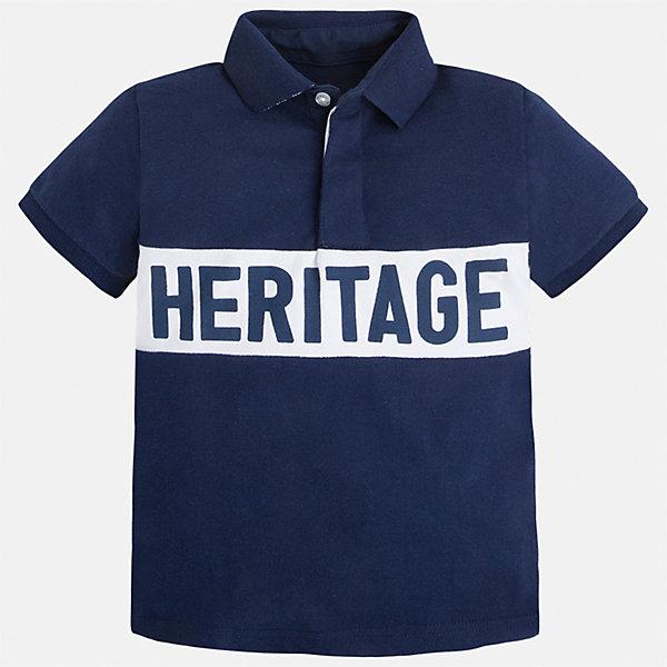 Рубашка-поло для мальчика MayoralФутболки, поло и топы<br>Характеристики товара:<br><br>• цвет: синий<br>• состав: 100% хлопок<br>• отложной воротник<br>• короткие рукава<br>• застежка: пуговицы<br>• декорирована вышивкой<br>• страна бренда: Испания<br><br>Стильная футболка-поло для мальчика может стать базовой вещью в гардеробе ребенка. Она отлично сочетается с брюками, шортами, джинсами и т.д. Универсальный крой и цвет позволяет подобрать к вещи низ разных расцветок. Практичное и стильное изделие! В составе материала - только натуральный хлопок, гипоаллергенный, приятный на ощупь, дышащий.<br><br>Одежда, обувь и аксессуары от испанского бренда Mayoral полюбились детям и взрослым по всему миру. Модели этой марки - стильные и удобные. Для их производства используются только безопасные, качественные материалы и фурнитура. Порадуйте ребенка модными и красивыми вещами от Mayoral! <br><br>Футболку-поло для мальчика от испанского бренда Mayoral (Майорал) можно купить в нашем интернет-магазине.<br>Ширина мм: 230; Глубина мм: 40; Высота мм: 220; Вес г: 250; Цвет: синий; Возраст от месяцев: 72; Возраст до месяцев: 84; Пол: Мужской; Возраст: Детский; Размер: 122,134,128,116,104,92,98,110; SKU: 5271976;