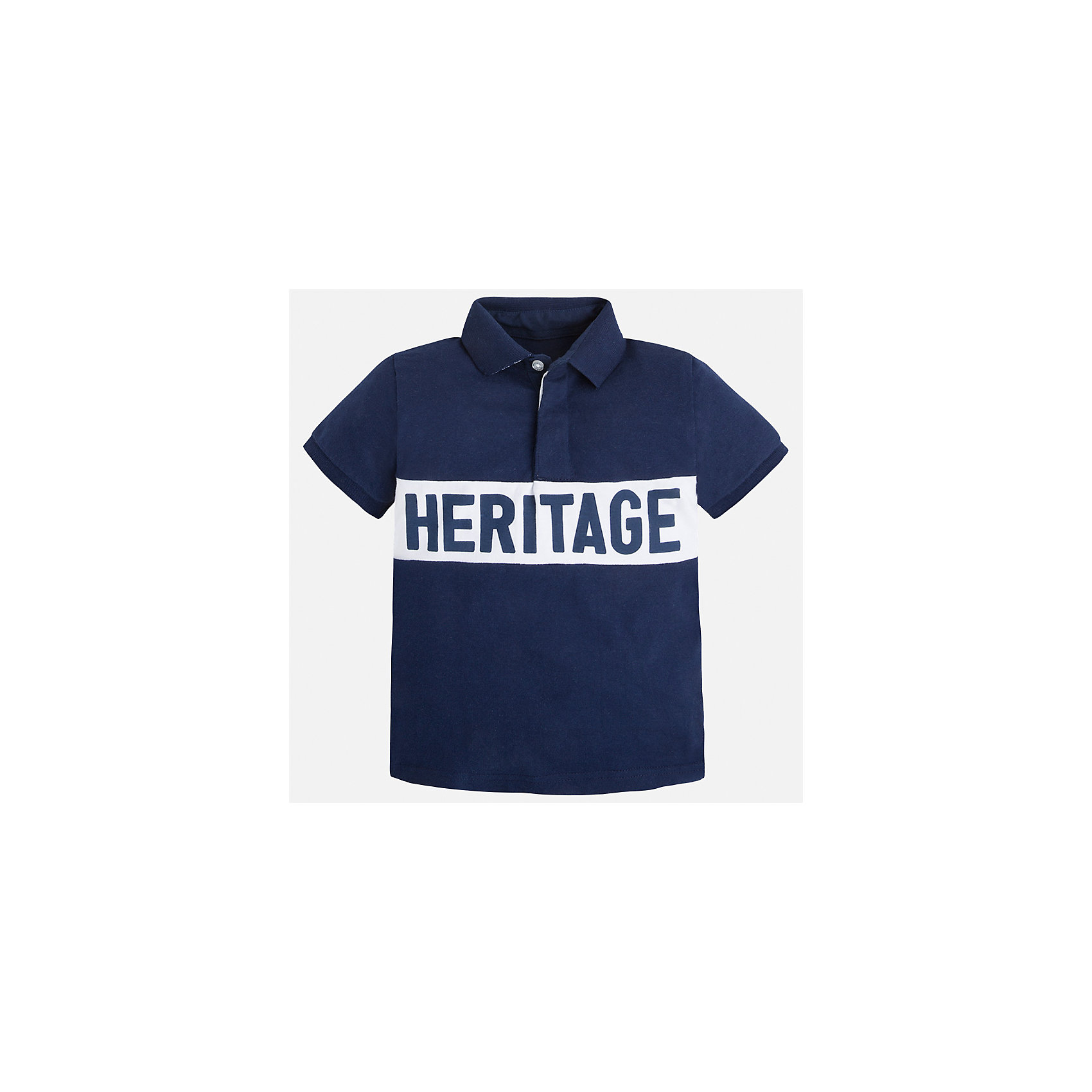 Рубашка-поло для мальчика MayoralФутболки, поло и топы<br>Характеристики товара:<br><br>• цвет: синий<br>• состав: 100% хлопок<br>• отложной воротник<br>• короткие рукава<br>• застежка: пуговицы<br>• декорирована вышивкой<br>• страна бренда: Испания<br><br>Стильная футболка-поло для мальчика может стать базовой вещью в гардеробе ребенка. Она отлично сочетается с брюками, шортами, джинсами и т.д. Универсальный крой и цвет позволяет подобрать к вещи низ разных расцветок. Практичное и стильное изделие! В составе материала - только натуральный хлопок, гипоаллергенный, приятный на ощупь, дышащий.<br><br>Одежда, обувь и аксессуары от испанского бренда Mayoral полюбились детям и взрослым по всему миру. Модели этой марки - стильные и удобные. Для их производства используются только безопасные, качественные материалы и фурнитура. Порадуйте ребенка модными и красивыми вещами от Mayoral! <br><br>Футболку-поло для мальчика от испанского бренда Mayoral (Майорал) можно купить в нашем интернет-магазине.<br><br>Ширина мм: 230<br>Глубина мм: 40<br>Высота мм: 220<br>Вес г: 250<br>Цвет: синий<br>Возраст от месяцев: 72<br>Возраст до месяцев: 84<br>Пол: Мужской<br>Возраст: Детский<br>Размер: 122,134,128,116,104,92,98,110<br>SKU: 5271976