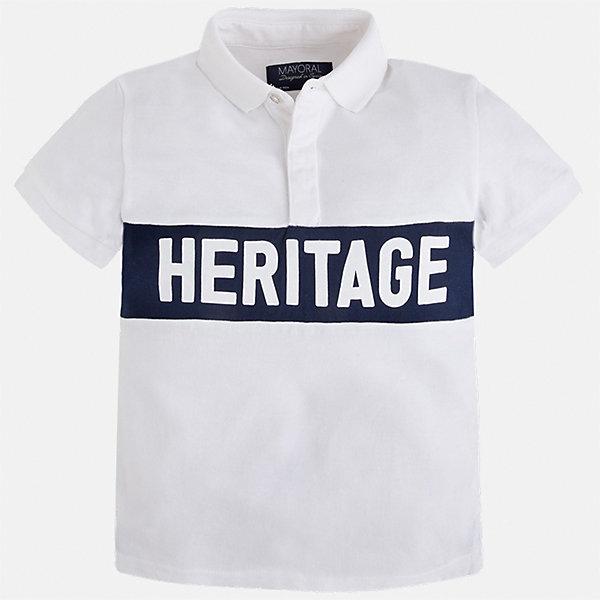 Футболка-поло для мальчика MayoralФутболки, поло и топы<br>Характеристики товара:<br><br>• цвет: белый<br>• состав: 100% хлопок<br>• отложной воротник<br>• короткие рукава<br>• застежка: пуговицы<br>• декорирована вышивкой<br>• страна бренда: Испания<br><br>Стильная футболка-поло для мальчика может стать базовой вещью в гардеробе ребенка. Она отлично сочетается с брюками, шортами, джинсами и т.д. Универсальный крой и цвет позволяет подобрать к вещи низ разных расцветок. Практичное и стильное изделие! В составе материала - только натуральный хлопок, гипоаллергенный, приятный на ощупь, дышащий.<br><br>Одежда, обувь и аксессуары от испанского бренда Mayoral полюбились детям и взрослым по всему миру. Модели этой марки - стильные и удобные. Для их производства используются только безопасные, качественные материалы и фурнитура. Порадуйте ребенка модными и красивыми вещами от Mayoral! <br><br>Футболку-поло для мальчика от испанского бренда Mayoral (Майорал) можно купить в нашем интернет-магазине.<br>Ширина мм: 230; Глубина мм: 40; Высота мм: 220; Вес г: 250; Цвет: белый; Возраст от месяцев: 96; Возраст до месяцев: 108; Пол: Мужской; Возраст: Детский; Размер: 134,128,116,98,110,104,92,122; SKU: 5271985;
