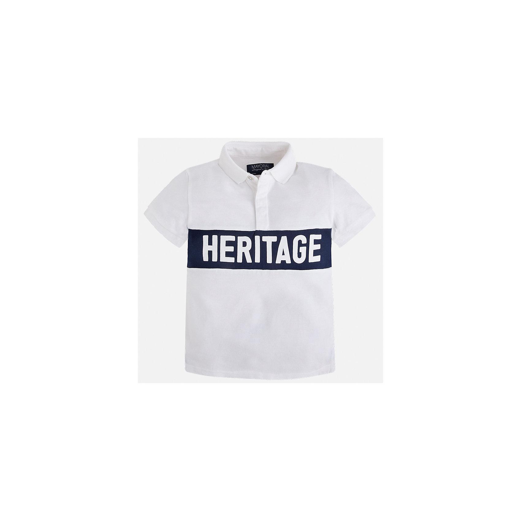 Футболка-поло для мальчика MayoralХарактеристики товара:<br><br>• цвет: белый<br>• состав: 100% хлопок<br>• отложной воротник<br>• короткие рукава<br>• застежка: пуговицы<br>• декорирована вышивкой<br>• страна бренда: Испания<br><br>Стильная футболка-поло для мальчика может стать базовой вещью в гардеробе ребенка. Она отлично сочетается с брюками, шортами, джинсами и т.д. Универсальный крой и цвет позволяет подобрать к вещи низ разных расцветок. Практичное и стильное изделие! В составе материала - только натуральный хлопок, гипоаллергенный, приятный на ощупь, дышащий.<br><br>Одежда, обувь и аксессуары от испанского бренда Mayoral полюбились детям и взрослым по всему миру. Модели этой марки - стильные и удобные. Для их производства используются только безопасные, качественные материалы и фурнитура. Порадуйте ребенка модными и красивыми вещами от Mayoral! <br><br>Футболку-поло для мальчика от испанского бренда Mayoral (Майорал) можно купить в нашем интернет-магазине.<br><br>Ширина мм: 230<br>Глубина мм: 40<br>Высота мм: 220<br>Вес г: 250<br>Цвет: белый<br>Возраст от месяцев: 84<br>Возраст до месяцев: 96<br>Пол: Мужской<br>Возраст: Детский<br>Размер: 128,134,122,92,104,110,98,116<br>SKU: 5271985