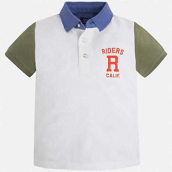 Футболка-поло для мальчика MayoralФутболки, поло и топы<br>Характеристики товара:<br><br>• цвет: белый<br>• состав: 100% хлопок<br>• отложной воротник<br>• короткие рукава<br>• застежка: пуговицы<br>• декорирована вышивкой<br>• страна бренда: Испания<br><br>Стильная футболка-поло для мальчика может стать базовой вещью в гардеробе ребенка. Она отлично сочетается с брюками, шортами, джинсами и т.д. Универсальный крой и цвет позволяет подобрать к вещи низ разных расцветок. Практичное и стильное изделие! В составе материала - только натуральный хлопок, гипоаллергенный, приятный на ощупь, дышащий.<br><br>Одежда, обувь и аксессуары от испанского бренда Mayoral полюбились детям и взрослым по всему миру. Модели этой марки - стильные и удобные. Для их производства используются только безопасные, качественные материалы и фурнитура. Порадуйте ребенка модными и красивыми вещами от Mayoral! <br><br>Футболку-поло для мальчика от испанского бренда Mayoral (Майорал) можно купить в нашем интернет-магазине.<br><br>Ширина мм: 230<br>Глубина мм: 40<br>Высота мм: 220<br>Вес г: 250<br>Цвет: коричневый<br>Возраст от месяцев: 96<br>Возраст до месяцев: 108<br>Пол: Мужской<br>Возраст: Детский<br>Размер: 134,128,116,110,122<br>SKU: 5271994