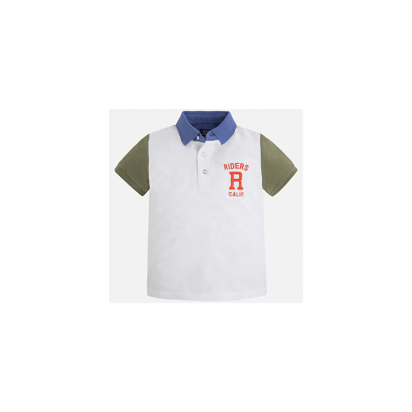 Футболка-поло для мальчика MayoralХарактеристики товара:<br><br>• цвет: белый<br>• состав: 100% хлопок<br>• отложной воротник<br>• короткие рукава<br>• застежка: пуговицы<br>• декорирована вышивкой<br>• страна бренда: Испания<br><br>Стильная футболка-поло для мальчика может стать базовой вещью в гардеробе ребенка. Она отлично сочетается с брюками, шортами, джинсами и т.д. Универсальный крой и цвет позволяет подобрать к вещи низ разных расцветок. Практичное и стильное изделие! В составе материала - только натуральный хлопок, гипоаллергенный, приятный на ощупь, дышащий.<br><br>Одежда, обувь и аксессуары от испанского бренда Mayoral полюбились детям и взрослым по всему миру. Модели этой марки - стильные и удобные. Для их производства используются только безопасные, качественные материалы и фурнитура. Порадуйте ребенка модными и красивыми вещами от Mayoral! <br><br>Футболку-поло для мальчика от испанского бренда Mayoral (Майорал) можно купить в нашем интернет-магазине.<br><br>Ширина мм: 230<br>Глубина мм: 40<br>Высота мм: 220<br>Вес г: 250<br>Цвет: коричневый<br>Возраст от месяцев: 72<br>Возраст до месяцев: 84<br>Пол: Мужской<br>Возраст: Детский<br>Размер: 122,110,116,134,128<br>SKU: 5271994