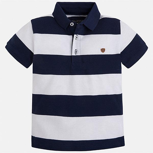 Футболка-поло для мальчика MayoralФутболки, поло и топы<br>Характеристики товара:<br><br>• цвет: синий/белый<br>• состав: 100% хлопок<br>• отложной воротник<br>• короткие рукава<br>• застежка: пуговицы<br>• декорирована вышивкой<br>• страна бренда: Испания<br><br>Удобная и модная футболка-поло для мальчика может стать базовой вещью в гардеробе ребенка. Она отлично сочетается с брюками, шортами, джинсами и т.д. Универсальный крой и цвет позволяет подобрать к вещи низ разных расцветок. Практичное и стильное изделие! В составе материала - только натуральный хлопок, гипоаллергенный, приятный на ощупь, дышащий.<br><br>Одежда, обувь и аксессуары от испанского бренда Mayoral полюбились детям и взрослым по всему миру. Модели этой марки - стильные и удобные. Для их производства используются только безопасные, качественные материалы и фурнитура. Порадуйте ребенка модными и красивыми вещами от Mayoral! <br><br>Футболку-поло для мальчика от испанского бренда Mayoral (Майорал) можно купить в нашем интернет-магазине.<br><br>Ширина мм: 230<br>Глубина мм: 40<br>Высота мм: 220<br>Вес г: 250<br>Цвет: синий<br>Возраст от месяцев: 18<br>Возраст до месяцев: 24<br>Пол: Мужской<br>Возраст: Детский<br>Размер: 92,104,98,110,128,134,122,116<br>SKU: 5272018
