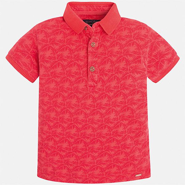 Футболка-поло для мальчика MayoralФутболки, поло и топы<br>Характеристики товара:<br><br>• цвет: красный<br>• состав: 100% хлопок<br>• отложной воротник<br>• короткие рукава<br>• застежка: пуговицы<br>• материал с орнаментом<br>• страна бренда: Испания<br><br>Удобная и модная футболка-поло для мальчика может стать базовой вещью в гардеробе ребенка. Она отлично сочетается с брюками, шортами, джинсами и т.д. Универсальный крой и цвет позволяет подобрать к вещи низ разных расцветок. Практичное и стильное изделие! В составе материала - только натуральный хлопок, гипоаллергенный, приятный на ощупь, дышащий.<br><br>Одежда, обувь и аксессуары от испанского бренда Mayoral полюбились детям и взрослым по всему миру. Модели этой марки - стильные и удобные. Для их производства используются только безопасные, качественные материалы и фурнитура. Порадуйте ребенка модными и красивыми вещами от Mayoral! <br><br>Футболку-поло для мальчика от испанского бренда Mayoral (Майорал) можно купить в нашем интернет-магазине.<br>Ширина мм: 230; Глубина мм: 40; Высота мм: 220; Вес г: 250; Цвет: красный; Возраст от месяцев: 48; Возраст до месяцев: 60; Пол: Мужской; Возраст: Детский; Размер: 110,116,122,134,128,104,92,98; SKU: 5272027;