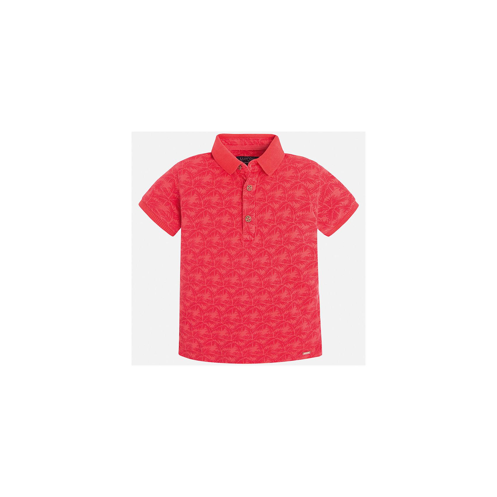 Футболка-поло для мальчика MayoralФутболки, поло и топы<br>Характеристики товара:<br><br>• цвет: красный<br>• состав: 100% хлопок<br>• отложной воротник<br>• короткие рукава<br>• застежка: пуговицы<br>• материал с орнаментом<br>• страна бренда: Испания<br><br>Удобная и модная футболка-поло для мальчика может стать базовой вещью в гардеробе ребенка. Она отлично сочетается с брюками, шортами, джинсами и т.д. Универсальный крой и цвет позволяет подобрать к вещи низ разных расцветок. Практичное и стильное изделие! В составе материала - только натуральный хлопок, гипоаллергенный, приятный на ощупь, дышащий.<br><br>Одежда, обувь и аксессуары от испанского бренда Mayoral полюбились детям и взрослым по всему миру. Модели этой марки - стильные и удобные. Для их производства используются только безопасные, качественные материалы и фурнитура. Порадуйте ребенка модными и красивыми вещами от Mayoral! <br><br>Футболку-поло для мальчика от испанского бренда Mayoral (Майорал) можно купить в нашем интернет-магазине.<br><br>Ширина мм: 230<br>Глубина мм: 40<br>Высота мм: 220<br>Вес г: 250<br>Цвет: красный<br>Возраст от месяцев: 84<br>Возраст до месяцев: 96<br>Пол: Мужской<br>Возраст: Детский<br>Размер: 128,134,122,116,98,92,104,110<br>SKU: 5272027