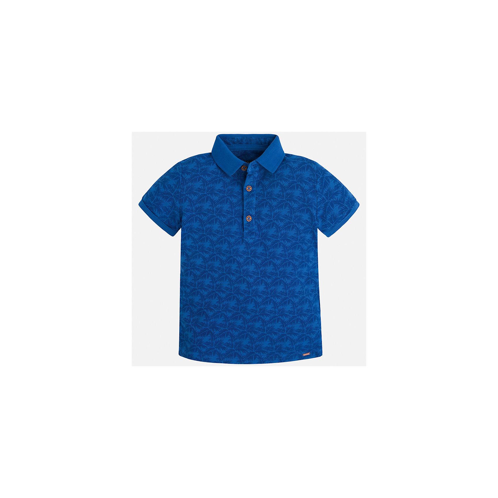 Футболка-поло для мальчика MayoralФутболки, поло и топы<br>Характеристики товара:<br><br>• цвет: синий<br>• состав: 100% хлопок<br>• отложной воротник<br>• короткие рукава<br>• застежка: пуговицы<br>• материал с орнаментом<br>• страна бренда: Испания<br><br>Удобная и модная футболка-поло для мальчика может стать базовой вещью в гардеробе ребенка. Она отлично сочетается с брюками, шортами, джинсами и т.д. Универсальный крой и цвет позволяет подобрать к вещи низ разных расцветок. Практичное и стильное изделие! В составе материала - только натуральный хлопок, гипоаллергенный, приятный на ощупь, дышащий.<br><br>Одежда, обувь и аксессуары от испанского бренда Mayoral полюбились детям и взрослым по всему миру. Модели этой марки - стильные и удобные. Для их производства используются только безопасные, качественные материалы и фурнитура. Порадуйте ребенка модными и красивыми вещами от Mayoral! <br><br>Футболку-поло для мальчика от испанского бренда Mayoral (Майорал) можно купить в нашем интернет-магазине.<br><br>Ширина мм: 230<br>Глубина мм: 40<br>Высота мм: 220<br>Вес г: 250<br>Цвет: синий<br>Возраст от месяцев: 96<br>Возраст до месяцев: 108<br>Пол: Мужской<br>Возраст: Детский<br>Размер: 134,128,116,110,104,98,92,122<br>SKU: 5272036