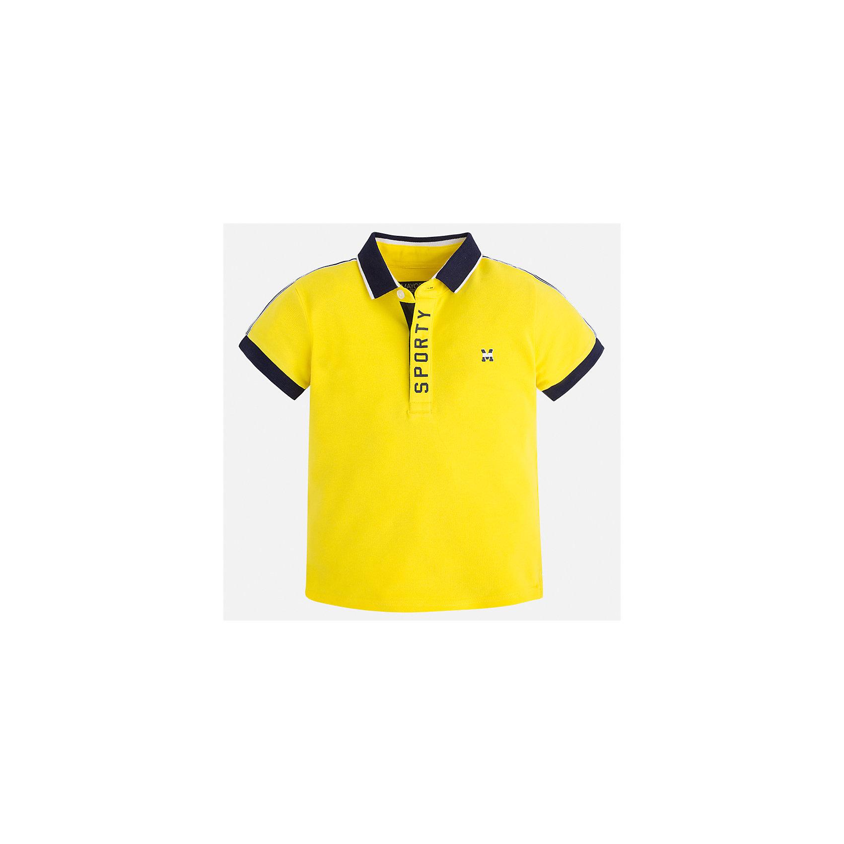 Футболка-поло для мальчика MayoralФутболки, поло и топы<br>Характеристики товара:<br><br>• цвет: желтый<br>• состав: 95% хлопок, 5% эластан<br>• отложной воротник<br>• короткие рукава<br>• застежка: пуговицы<br>• декорирована принтом<br>• страна бренда: Испания<br><br>Стильная футболка-поло для мальчика может стать базовой вещью в гардеробе ребенка. Она отлично сочетается с брюками, шортами, джинсами и т.д. Универсальный крой и цвет позволяет подобрать к вещи низ разных расцветок. Практичное и стильное изделие! В составе материала - натуральный хлопок, гипоаллергенный, приятный на ощупь, дышащий.<br><br>Одежда, обувь и аксессуары от испанского бренда Mayoral полюбились детям и взрослым по всему миру. Модели этой марки - стильные и удобные. Для их производства используются только безопасные, качественные материалы и фурнитура. Порадуйте ребенка модными и красивыми вещами от Mayoral! <br><br>Футболку-поло для мальчика от испанского бренда Mayoral (Майорал) можно купить в нашем интернет-магазине.<br><br>Ширина мм: 230<br>Глубина мм: 40<br>Высота мм: 220<br>Вес г: 250<br>Цвет: желтый<br>Возраст от месяцев: 96<br>Возраст до месяцев: 108<br>Пол: Мужской<br>Возраст: Детский<br>Размер: 134,128,110,104,98,92,116,122<br>SKU: 5272045