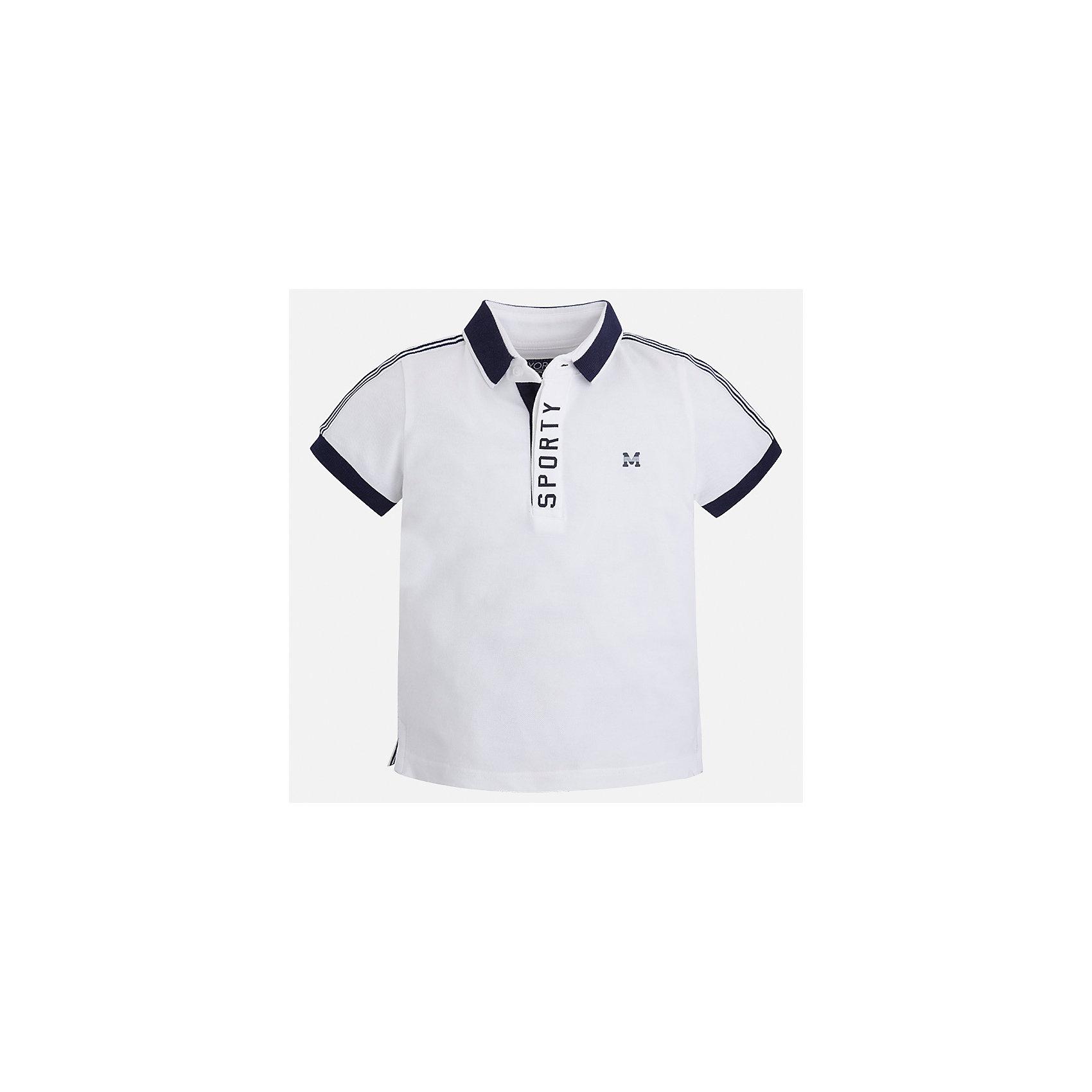 Футболка-поло для мальчика MayoralФутболки, поло и топы<br>Характеристики товара:<br><br>• цвет: белый<br>• состав: 95% хлопок, 5% эластан<br>• отложной воротник<br>• короткие рукава<br>• застежка: пуговицы<br>• декорирована принтом<br>• страна бренда: Испания<br><br>Стильная футболка-поло для мальчика может стать базовой вещью в гардеробе ребенка. Она отлично сочетается с брюками, шортами, джинсами и т.д. Универсальный крой и цвет позволяет подобрать к вещи низ разных расцветок. Практичное и стильное изделие! В составе материала - натуральный хлопок, гипоаллергенный, приятный на ощупь, дышащий.<br><br>Одежда, обувь и аксессуары от испанского бренда Mayoral полюбились детям и взрослым по всему миру. Модели этой марки - стильные и удобные. Для их производства используются только безопасные, качественные материалы и фурнитура. Порадуйте ребенка модными и красивыми вещами от Mayoral! <br><br>Футболку-поло для мальчика от испанского бренда Mayoral (Майорал) можно купить в нашем интернет-магазине.<br><br>Ширина мм: 230<br>Глубина мм: 40<br>Высота мм: 220<br>Вес г: 250<br>Цвет: белый<br>Возраст от месяцев: 72<br>Возраст до месяцев: 84<br>Пол: Мужской<br>Возраст: Детский<br>Размер: 122,134,116,110,104,98,92,128<br>SKU: 5272054