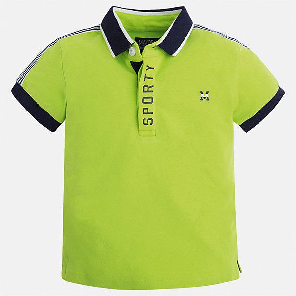 Футболка-поло для мальчика MayoralФутболки, поло и топы<br>Характеристики товара:<br><br>• цвет: салатовый<br>• состав: 95% хлопок, 5% эластан<br>• отложной воротник<br>• короткие рукава<br>• застежка: пуговицы<br>• декорирована принтом<br>• страна бренда: Испания<br><br>Стильная футболка-поло для мальчика может стать базовой вещью в гардеробе ребенка. Она отлично сочетается с брюками, шортами, джинсами и т.д. Универсальный крой и цвет позволяет подобрать к вещи низ разных расцветок. Практичное и стильное изделие! В составе материала - натуральный хлопок, гипоаллергенный, приятный на ощупь, дышащий.<br><br>Одежда, обувь и аксессуары от испанского бренда Mayoral полюбились детям и взрослым по всему миру. Модели этой марки - стильные и удобные. Для их производства используются только безопасные, качественные материалы и фурнитура. Порадуйте ребенка модными и красивыми вещами от Mayoral! <br><br>Футболку-поло для мальчика от испанского бренда Mayoral (Майорал) можно купить в нашем интернет-магазине.<br><br>Ширина мм: 230<br>Глубина мм: 40<br>Высота мм: 220<br>Вес г: 250<br>Цвет: зеленый<br>Возраст от месяцев: 48<br>Возраст до месяцев: 60<br>Пол: Мужской<br>Возраст: Детский<br>Размер: 110,128,98,92,104,116,122,134<br>SKU: 5272063
