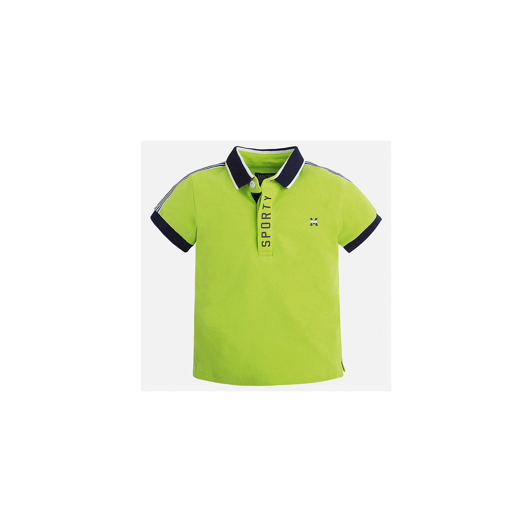Футболка-поло для мальчика MayoralФутболки, поло и топы<br>Характеристики товара:<br><br>• цвет: салатовый<br>• состав: 95% хлопок, 5% эластан<br>• отложной воротник<br>• короткие рукава<br>• застежка: пуговицы<br>• декорирована принтом<br>• страна бренда: Испания<br><br>Стильная футболка-поло для мальчика может стать базовой вещью в гардеробе ребенка. Она отлично сочетается с брюками, шортами, джинсами и т.д. Универсальный крой и цвет позволяет подобрать к вещи низ разных расцветок. Практичное и стильное изделие! В составе материала - натуральный хлопок, гипоаллергенный, приятный на ощупь, дышащий.<br><br>Одежда, обувь и аксессуары от испанского бренда Mayoral полюбились детям и взрослым по всему миру. Модели этой марки - стильные и удобные. Для их производства используются только безопасные, качественные материалы и фурнитура. Порадуйте ребенка модными и красивыми вещами от Mayoral! <br><br>Футболку-поло для мальчика от испанского бренда Mayoral (Майорал) можно купить в нашем интернет-магазине.<br><br>Ширина мм: 230<br>Глубина мм: 40<br>Высота мм: 220<br>Вес г: 250<br>Цвет: зеленый<br>Возраст от месяцев: 96<br>Возраст до месяцев: 108<br>Пол: Мужской<br>Возраст: Детский<br>Размер: 134,122,116,104,92,98,110,128<br>SKU: 5272063