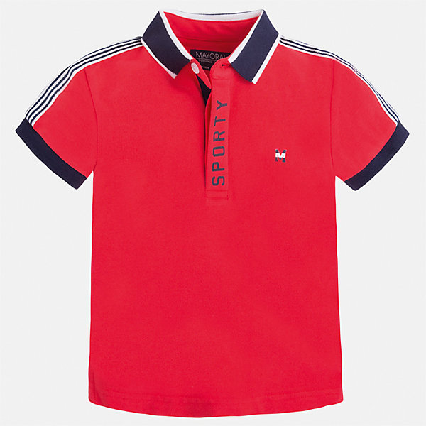 Футболка-поло для мальчика MayoralФутболки, поло и топы<br>Характеристики товара:<br><br>• цвет: красный<br>• состав: 95% хлопок, 5% эластан<br>• отложной воротник<br>• короткие рукава<br>• застежка: пуговицы<br>• декорирована принтом<br>• страна бренда: Испания<br><br>Стильная футболка-поло для мальчика может стать базовой вещью в гардеробе ребенка. Она отлично сочетается с брюками, шортами, джинсами и т.д. Универсальный крой и цвет позволяет подобрать к вещи низ разных расцветок. Практичное и стильное изделие! В составе материала - натуральный хлопок, гипоаллергенный, приятный на ощупь, дышащий.<br><br>Одежда, обувь и аксессуары от испанского бренда Mayoral полюбились детям и взрослым по всему миру. Модели этой марки - стильные и удобные. Для их производства используются только безопасные, качественные материалы и фурнитура. Порадуйте ребенка модными и красивыми вещами от Mayoral! <br><br>Футболку-поло для мальчика от испанского бренда Mayoral (Майорал) можно купить в нашем интернет-магазине.<br>Ширина мм: 230; Глубина мм: 40; Высота мм: 220; Вес г: 250; Цвет: розовый; Возраст от месяцев: 18; Возраст до месяцев: 24; Пол: Мужской; Возраст: Детский; Размер: 92,134,116,122,128,98,104,110; SKU: 5272072;