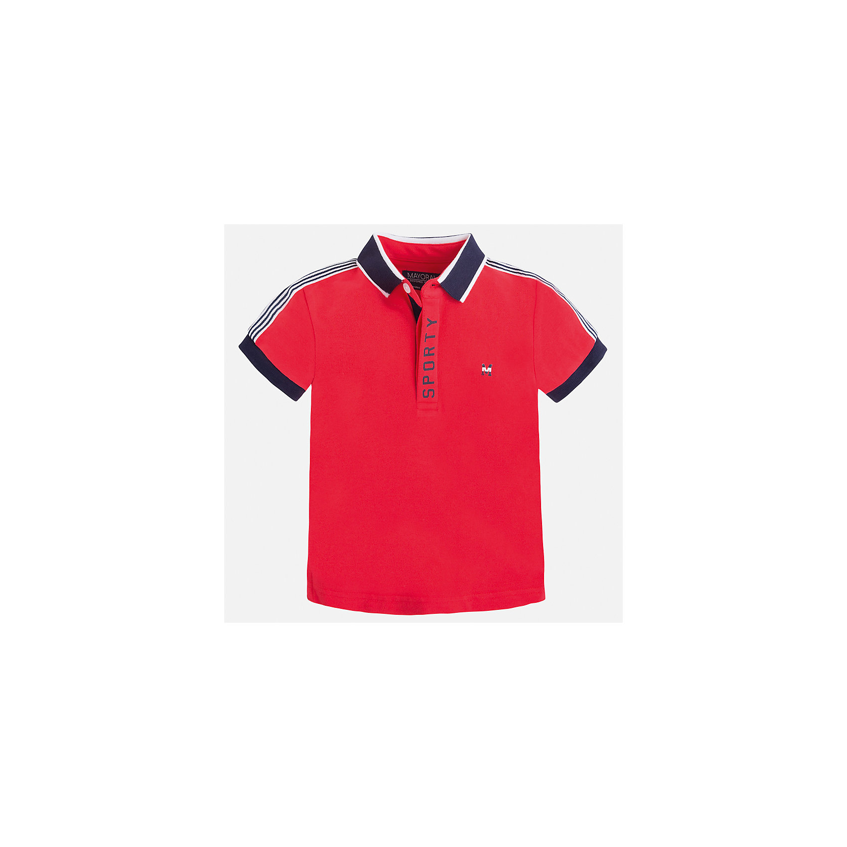 Футболка-поло для мальчика MayoralФутболки, поло и топы<br>Характеристики товара:<br><br>• цвет: красный<br>• состав: 95% хлопок, 5% эластан<br>• отложной воротник<br>• короткие рукава<br>• застежка: пуговицы<br>• декорирована принтом<br>• страна бренда: Испания<br><br>Стильная футболка-поло для мальчика может стать базовой вещью в гардеробе ребенка. Она отлично сочетается с брюками, шортами, джинсами и т.д. Универсальный крой и цвет позволяет подобрать к вещи низ разных расцветок. Практичное и стильное изделие! В составе материала - натуральный хлопок, гипоаллергенный, приятный на ощупь, дышащий.<br><br>Одежда, обувь и аксессуары от испанского бренда Mayoral полюбились детям и взрослым по всему миру. Модели этой марки - стильные и удобные. Для их производства используются только безопасные, качественные материалы и фурнитура. Порадуйте ребенка модными и красивыми вещами от Mayoral! <br><br>Футболку-поло для мальчика от испанского бренда Mayoral (Майорал) можно купить в нашем интернет-магазине.<br><br>Ширина мм: 230<br>Глубина мм: 40<br>Высота мм: 220<br>Вес г: 250<br>Цвет: розовый<br>Возраст от месяцев: 18<br>Возраст до месяцев: 24<br>Пол: Мужской<br>Возраст: Детский<br>Размер: 92,116,122,128,98,104,110,134<br>SKU: 5272072