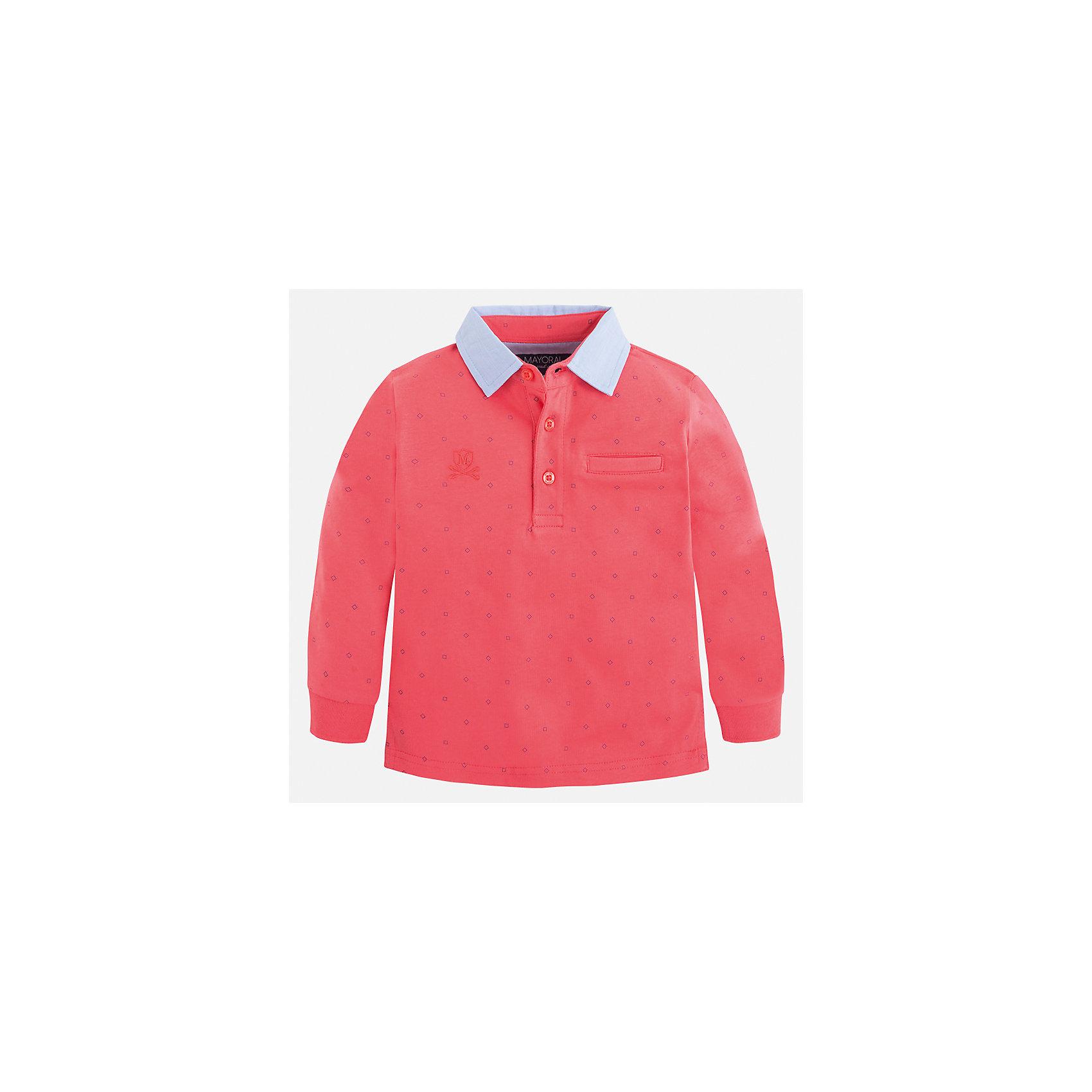 Рубашка-поло для мальчика MayoralХарактеристики товара:<br><br>• цвет: розовый<br>• состав: 100% хлопок<br>• отложной воротник<br>• длинные рукава<br>• застежка: пуговицы<br>• декорирована принтом<br>• страна бренда: Испания<br><br>Стильная рубашка-поло для мальчика может стать базовой вещью в гардеробе ребенка. Она отлично сочетается с брюками, шортами, джинсами и т.д. Универсальный крой и цвет позволяет подобрать к вещи низ разных расцветок. Практичное и стильное изделие! В составе материала - только натуральный хлопок, гипоаллергенный, приятный на ощупь, дышащий.<br><br>Одежда, обувь и аксессуары от испанского бренда Mayoral полюбились детям и взрослым по всему миру. Модели этой марки - стильные и удобные. Для их производства используются только безопасные, качественные материалы и фурнитура. Порадуйте ребенка модными и красивыми вещами от Mayoral! <br><br>Рубашку-поло для мальчика от испанского бренда Mayoral (Майорал) можно купить в нашем интернет-магазине.<br><br>Ширина мм: 230<br>Глубина мм: 40<br>Высота мм: 220<br>Вес г: 250<br>Цвет: розовый<br>Возраст от месяцев: 48<br>Возраст до месяцев: 60<br>Пол: Мужской<br>Возраст: Детский<br>Размер: 110,92,104,98,134,128,122,116<br>SKU: 5272090