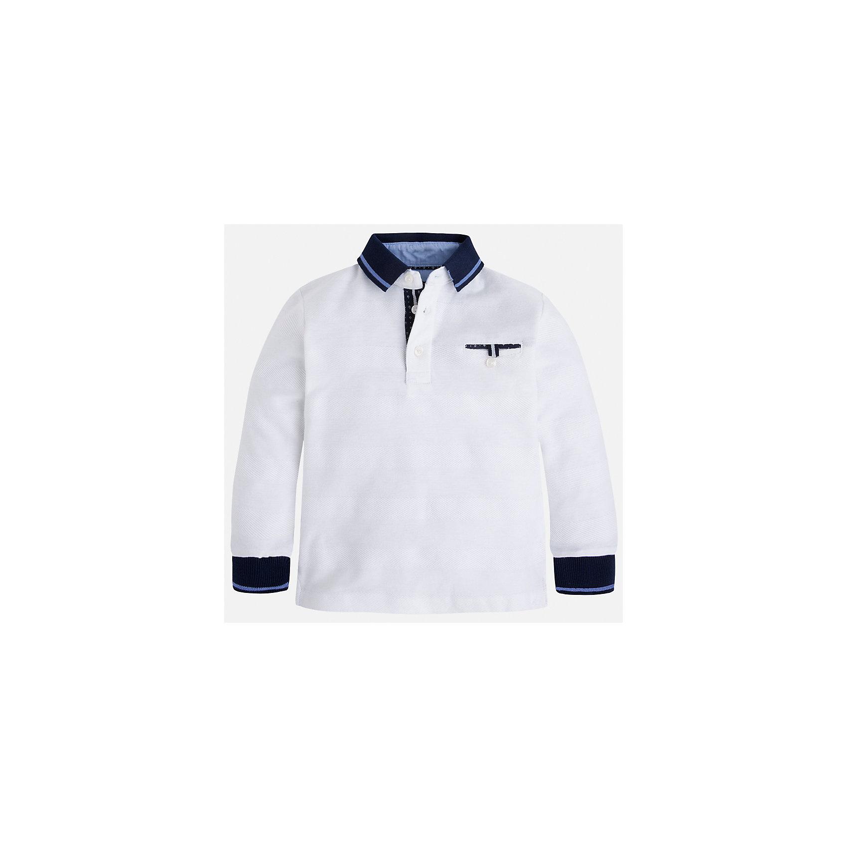 Рубашка-поло для мальчика MayoralХарактеристики товара:<br><br>• цвет: белый<br>• состав: 100% хлопок<br>• отложной воротник<br>• длинные рукава<br>• застежка: пуговицы<br>• карман на груди<br>• страна бренда: Испания<br><br>Стильная рубашка-поло для мальчика может стать базовой вещью в гардеробе ребенка. Она отлично сочетается с брюками, шортами, джинсами и т.д. Универсальный крой и цвет позволяет подобрать к вещи низ разных расцветок. Практичное и стильное изделие! В составе материала - только натуральный хлопок, гипоаллергенный, приятный на ощупь, дышащий.<br><br>Одежда, обувь и аксессуары от испанского бренда Mayoral полюбились детям и взрослым по всему миру. Модели этой марки - стильные и удобные. Для их производства используются только безопасные, качественные материалы и фурнитура. Порадуйте ребенка модными и красивыми вещами от Mayoral! <br><br>Рубашку-поло для мальчика от испанского бренда Mayoral (Майорал) можно купить в нашем интернет-магазине.<br><br>Ширина мм: 230<br>Глубина мм: 40<br>Высота мм: 220<br>Вес г: 250<br>Цвет: белый<br>Возраст от месяцев: 18<br>Возраст до месяцев: 24<br>Пол: Мужской<br>Возраст: Детский<br>Размер: 92,110,116,98,134,128,122,104<br>SKU: 5272108