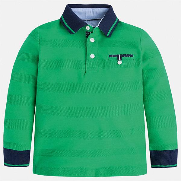 Футболка-поло с длинным рукавом для мальчика MayoralФутболки с длинным рукавом<br>Характеристики товара:<br><br>• цвет: зеленый<br>• состав: 100% хлопок<br>• отложной воротник<br>• длинные рукава<br>• застежка: пуговицы<br>• карман на груди<br>• страна бренда: Испания<br><br>Стильная рубашка-поло для мальчика может стать базовой вещью в гардеробе ребенка. Она отлично сочетается с брюками, шортами, джинсами и т.д. Универсальный крой и цвет позволяет подобрать к вещи низ разных расцветок. Практичное и стильное изделие! В составе материала - только натуральный хлопок, гипоаллергенный, приятный на ощупь, дышащий.<br><br>Одежда, обувь и аксессуары от испанского бренда Mayoral полюбились детям и взрослым по всему миру. Модели этой марки - стильные и удобные. Для их производства используются только безопасные, качественные материалы и фурнитура. Порадуйте ребенка модными и красивыми вещами от Mayoral! <br><br>Рубашку-поло для мальчика от испанского бренда Mayoral (Майорал) можно купить в нашем интернет-магазине.<br><br>Ширина мм: 230<br>Глубина мм: 40<br>Высота мм: 220<br>Вес г: 250<br>Цвет: зеленый<br>Возраст от месяцев: 24<br>Возраст до месяцев: 36<br>Пол: Мужской<br>Возраст: Детский<br>Размер: 98,128,104,110,116,122,134,92<br>SKU: 5272117